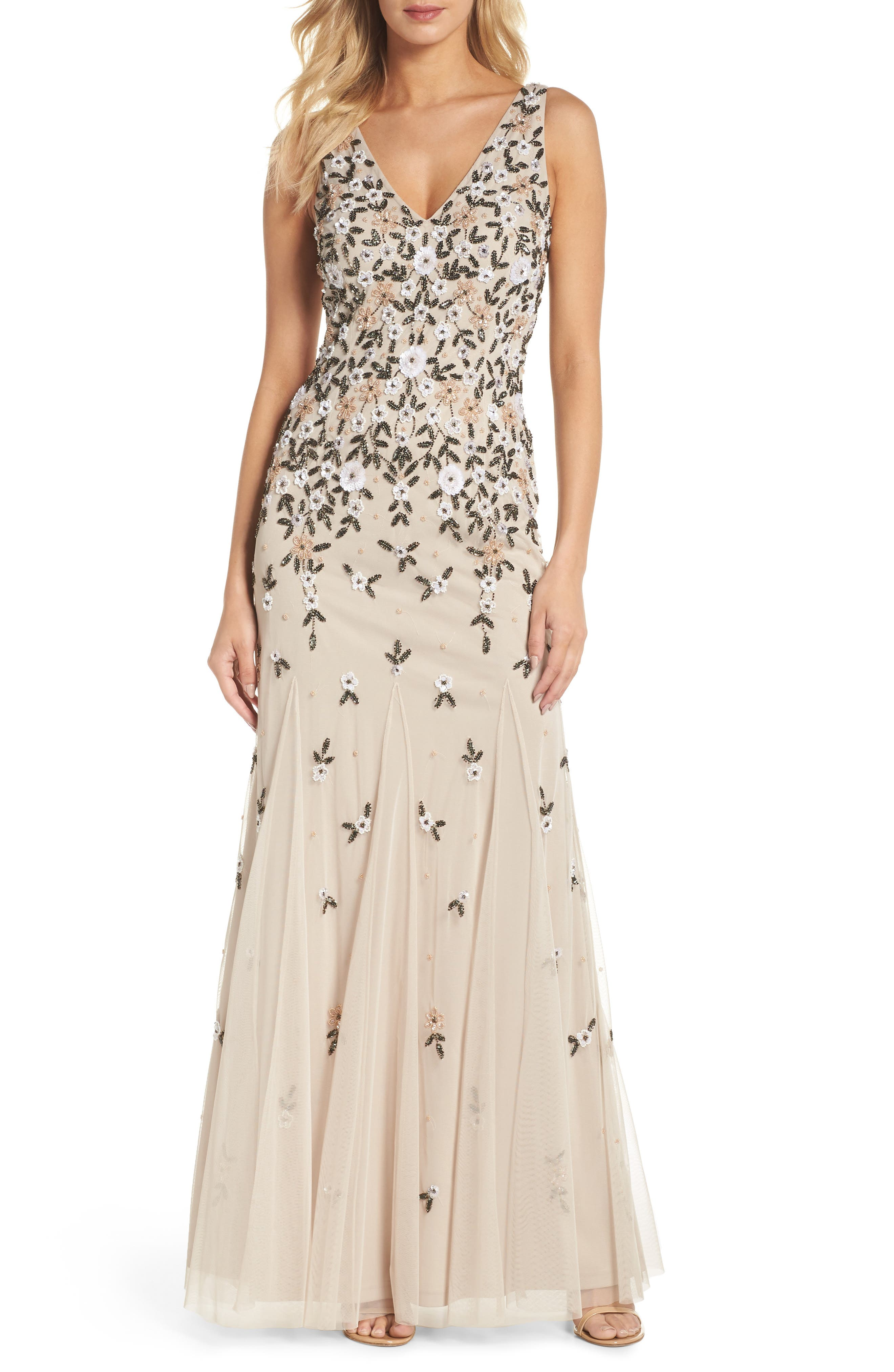 Beaded Floral Trumpet Gown,                         Main,                         color, Biscotti