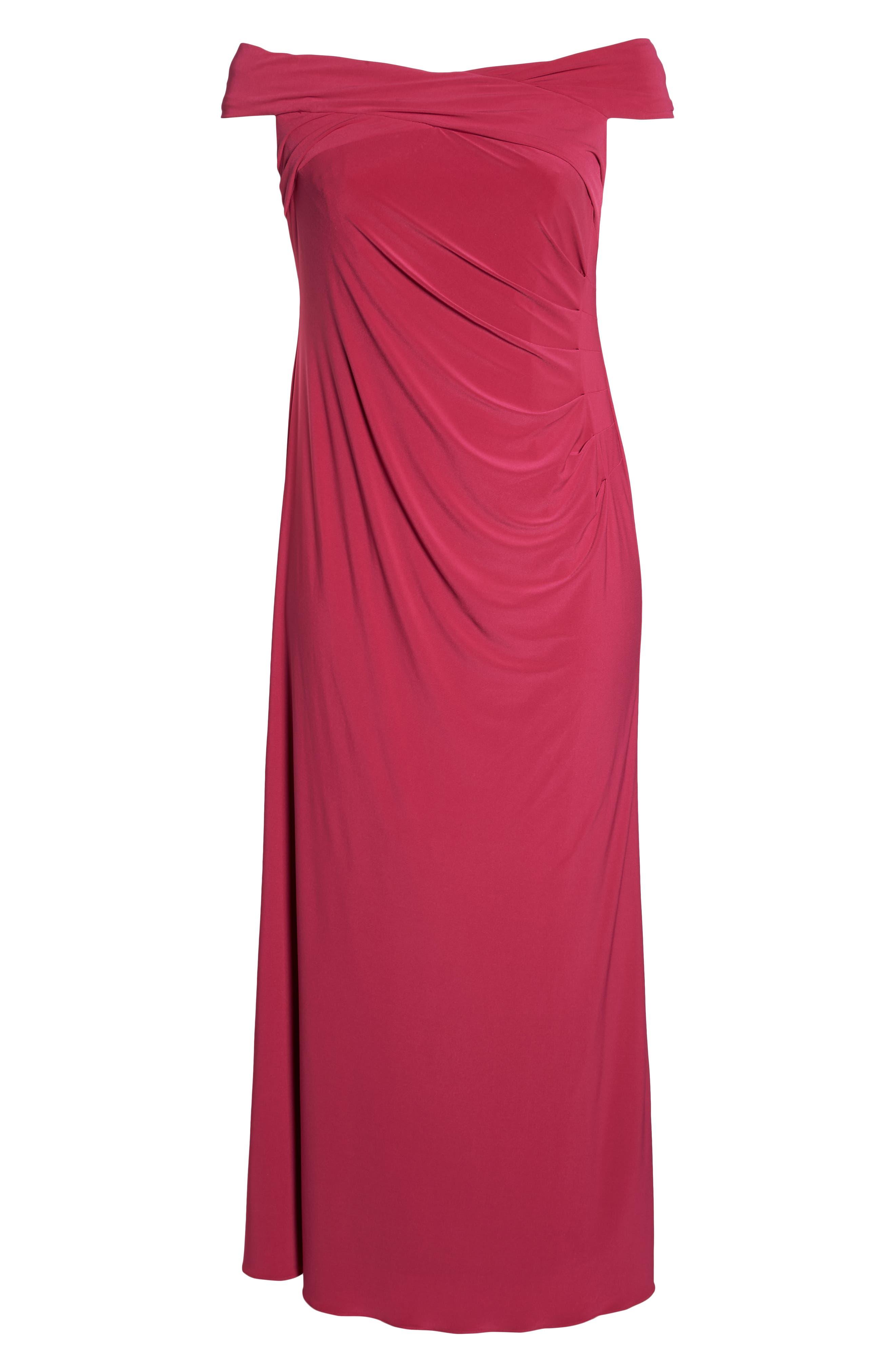Off the Shoulder Jersey Dress,                             Alternate thumbnail 6, color,                             Bright Syrah