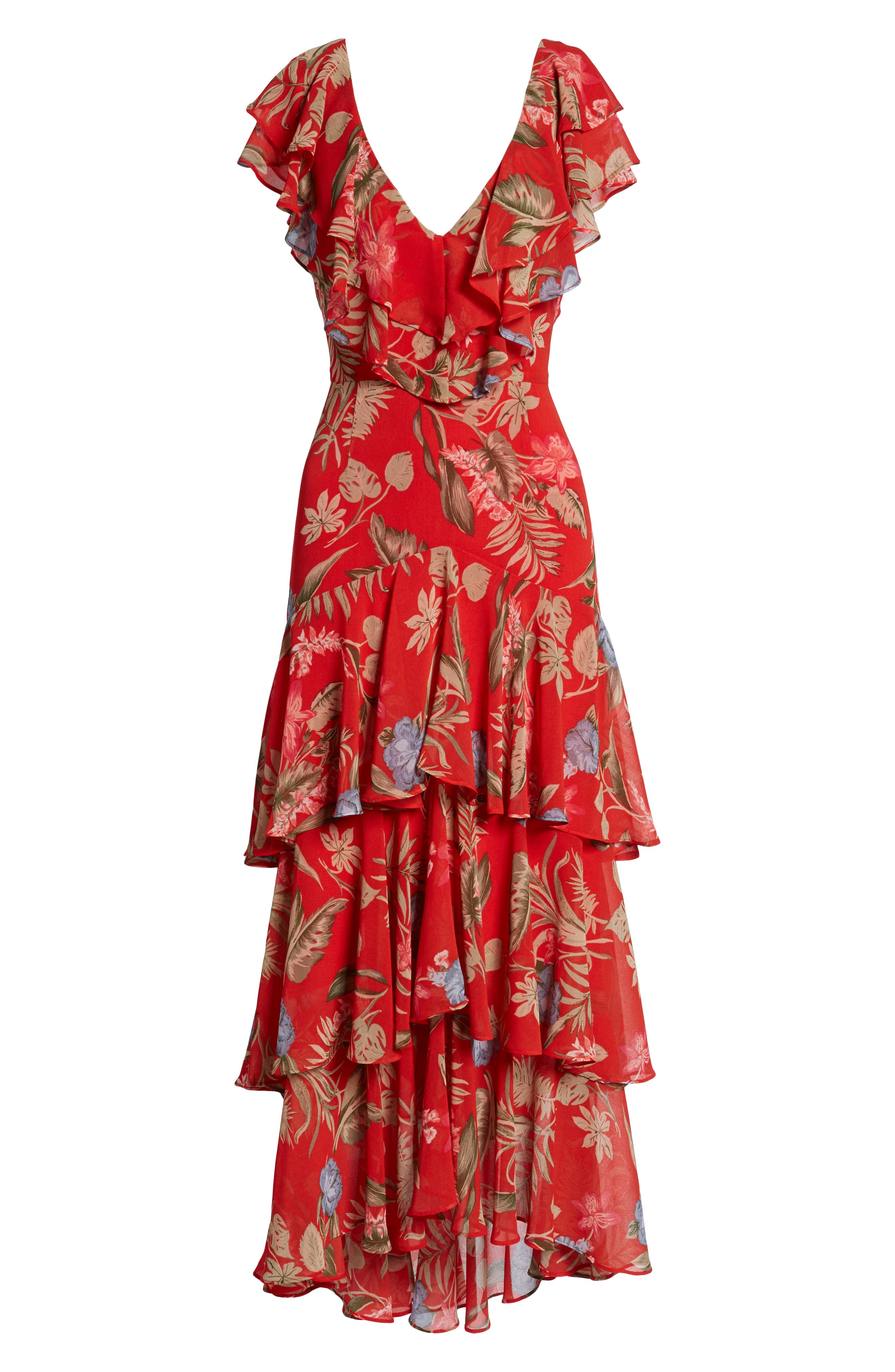 Chelsea Tiered Ruffle Maxi Dress,                             Alternate thumbnail 7, color,                             Red Tropical