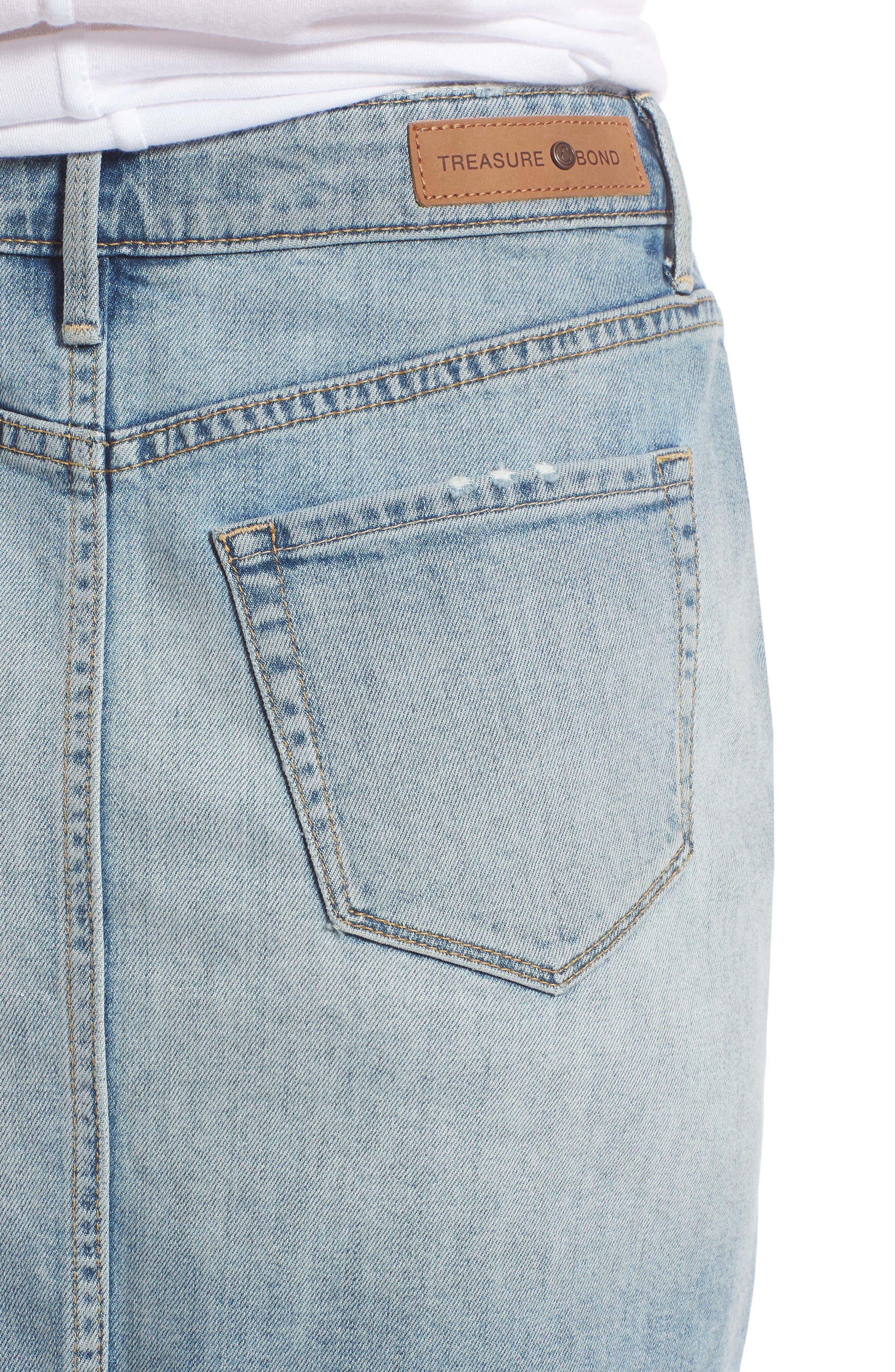 Denim Miniskirt,                             Alternate thumbnail 4, color,                             Gravel Light Vintage