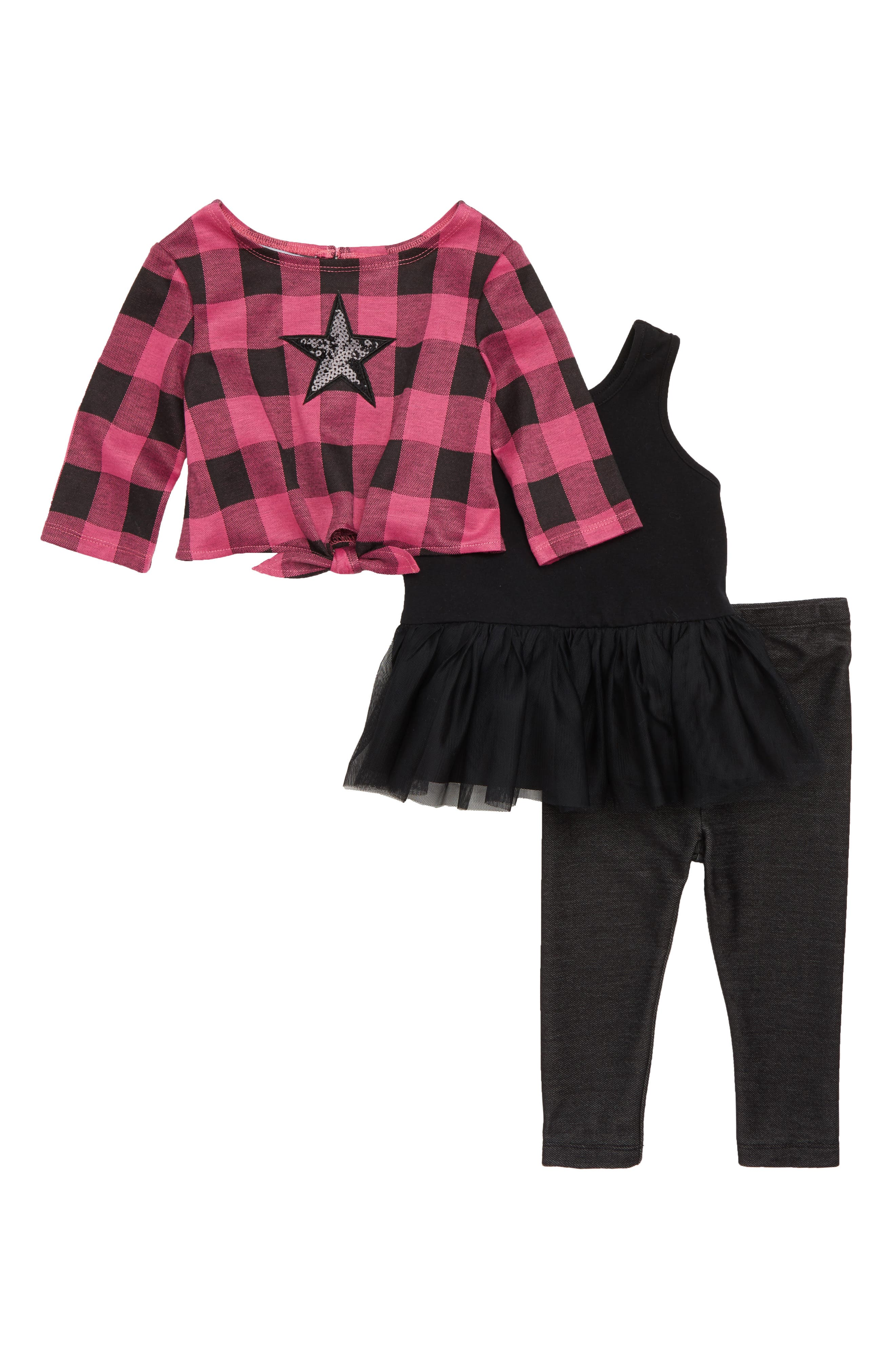 Plaid Sequin Star Sweater, Tutu Tunic & Leggings Set,                         Main,                         color, Pink/ Black