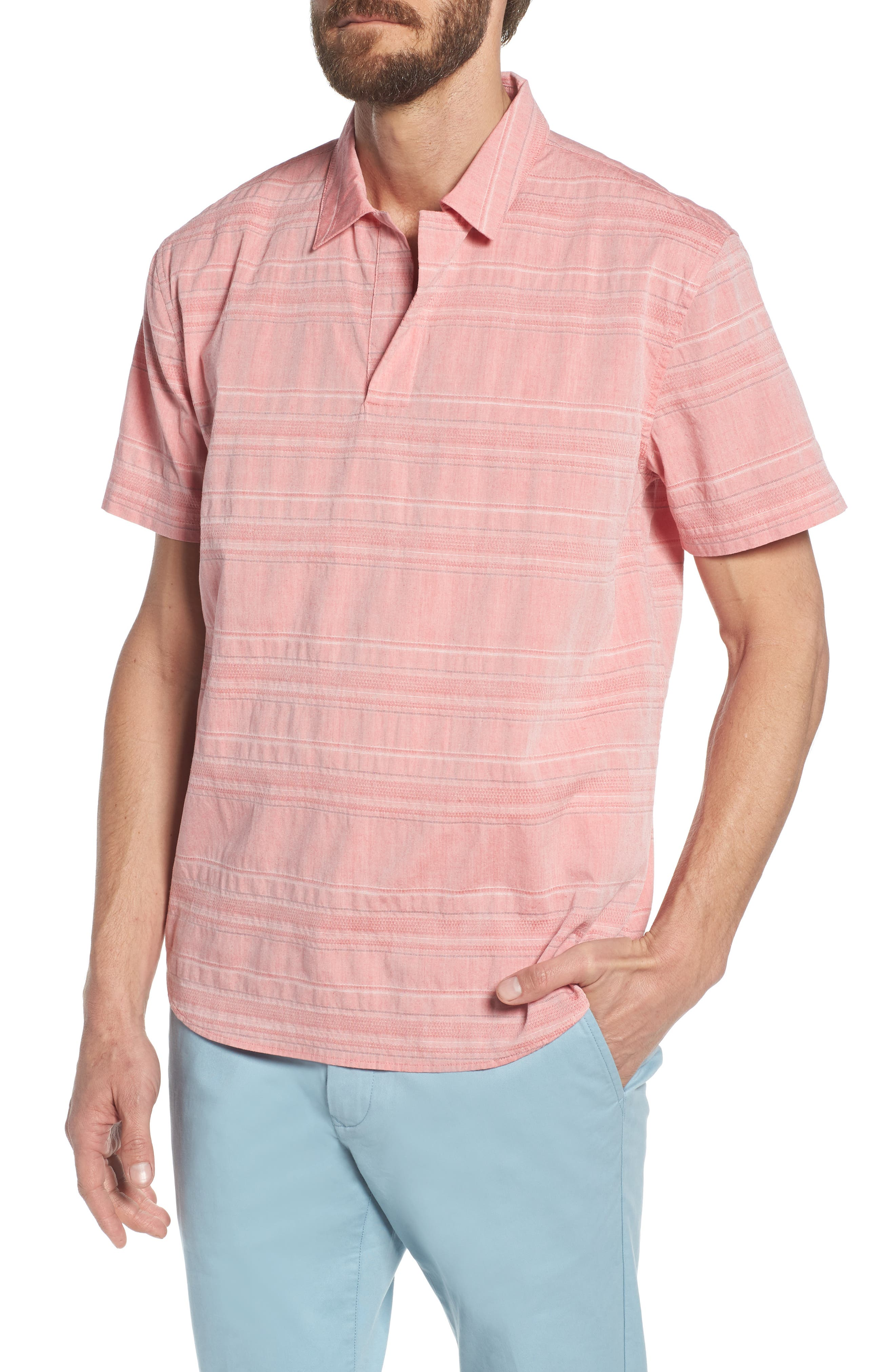 Beach Slim Fit Stripe Polo,                         Main,                         color, Katama Awning - Faded Adobe