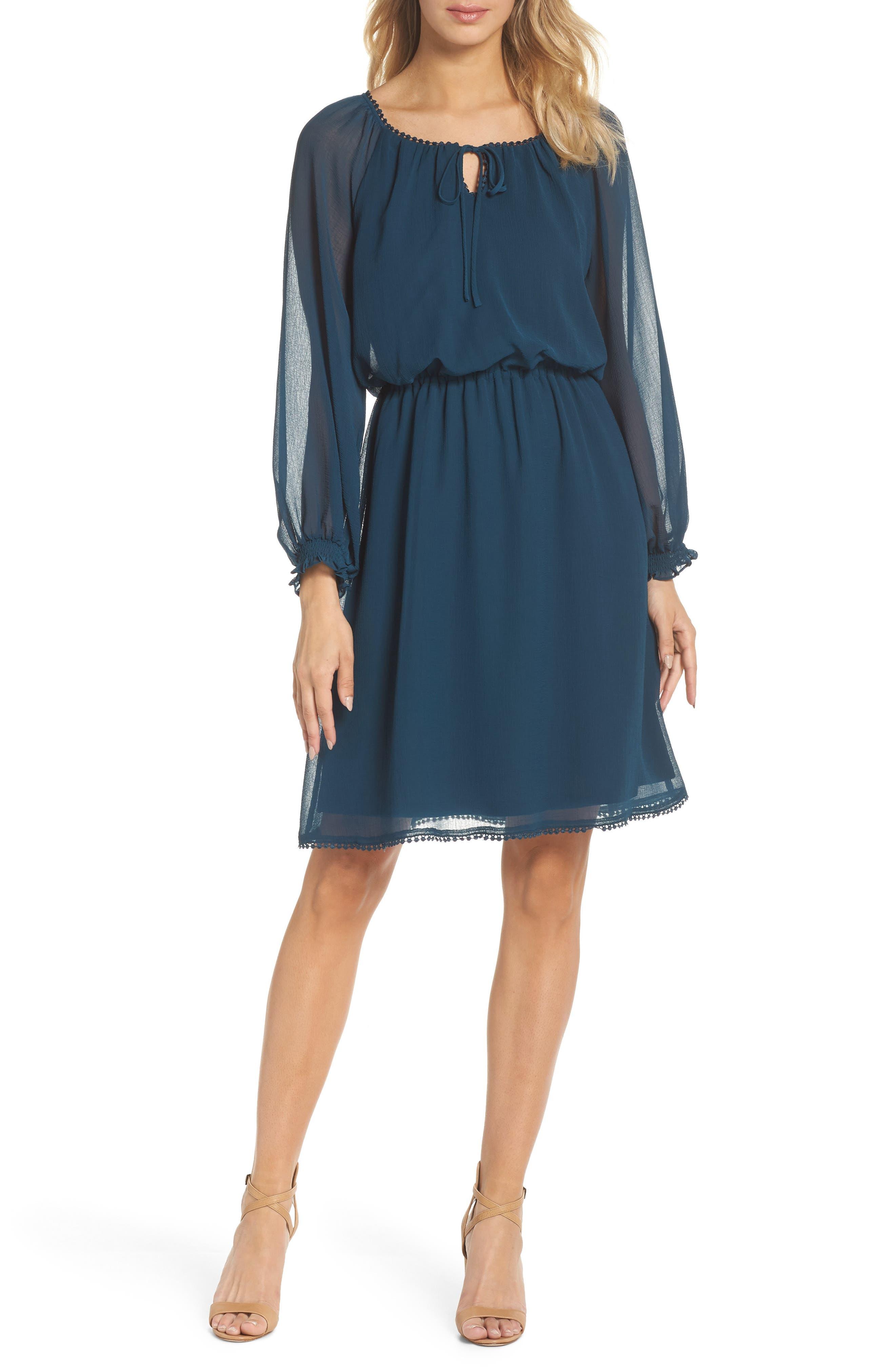 Adrianna Papell Bishop Sleeve Blouson Dress
