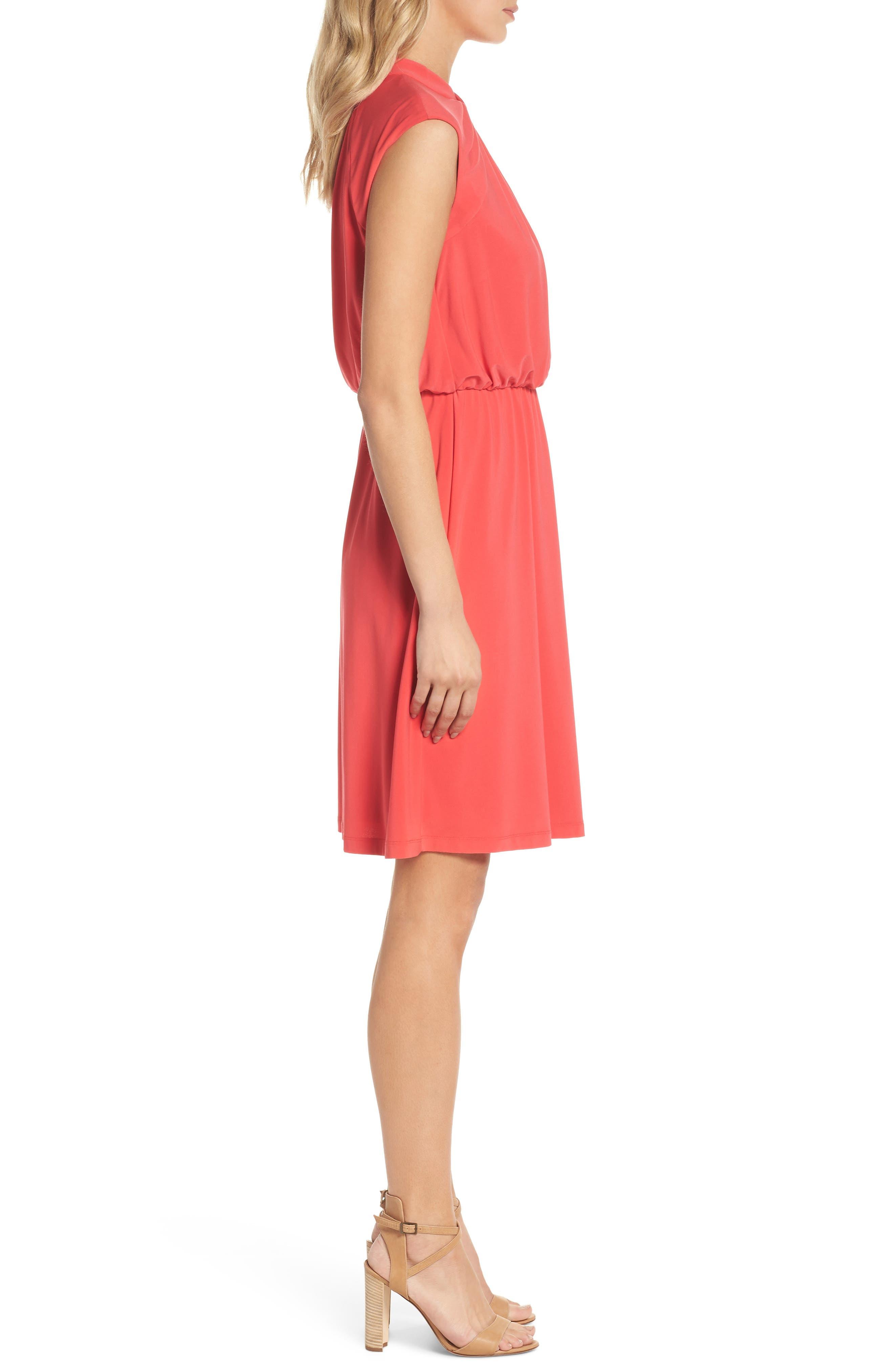 Twist Neck Jersey Blouson Dress,                             Alternate thumbnail 3, color,                             Geranium