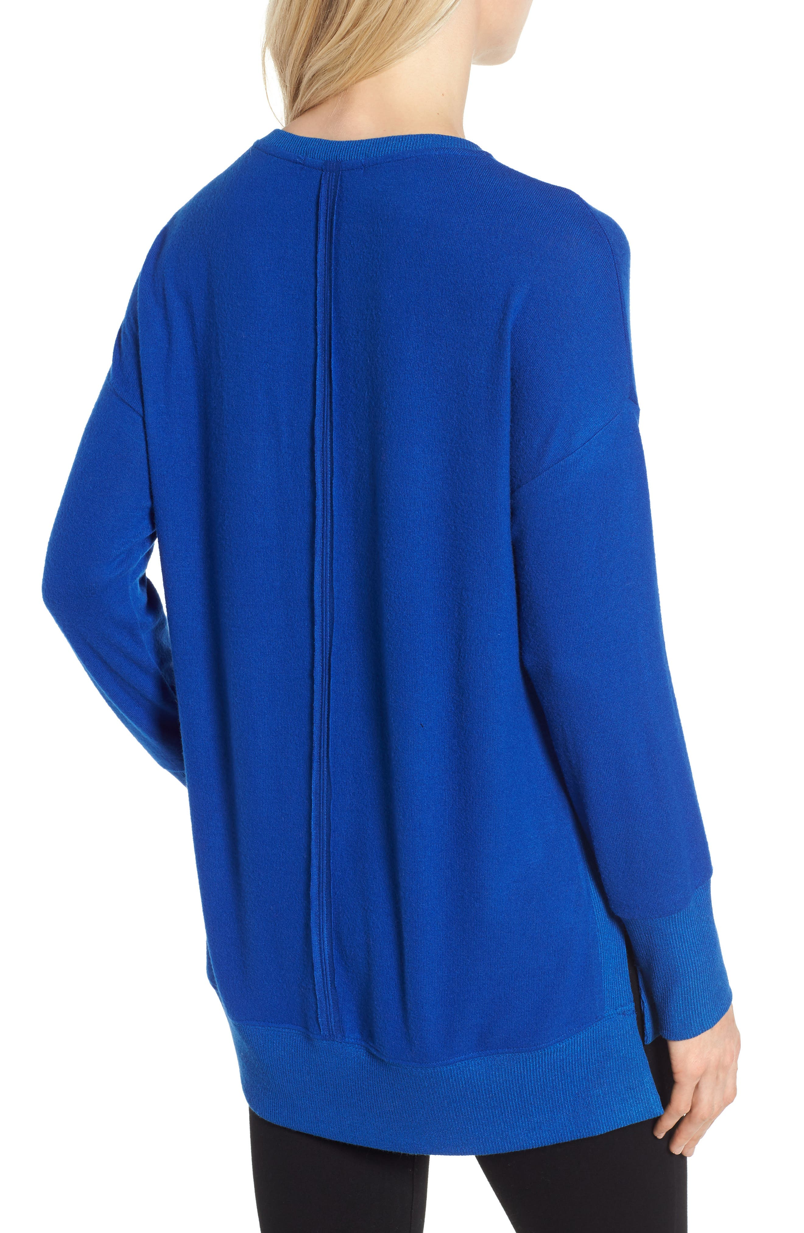 Cozy Fleece Tunic,                             Alternate thumbnail 2, color,                             Blue Surf