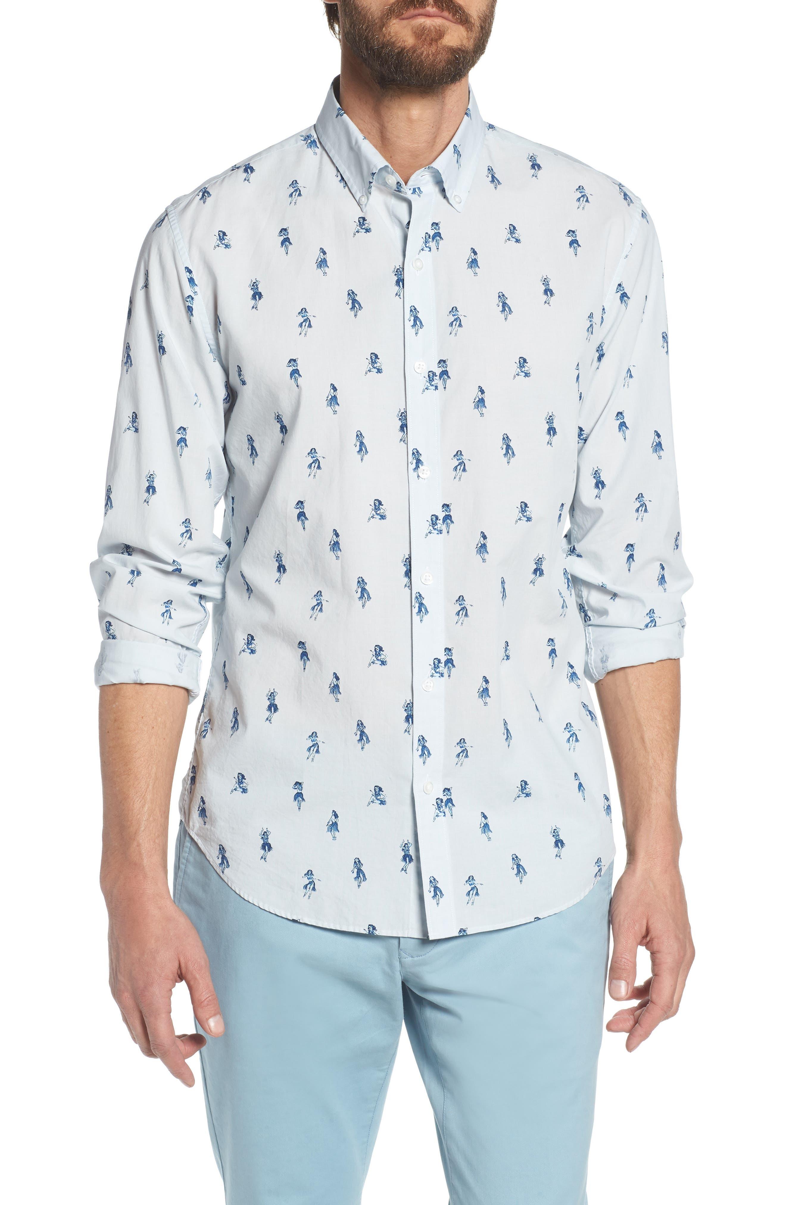 Summerweight Slim Fit Hula Print Sport Shirt,                         Main,                         color, Hula Revenge - Deep Pacific