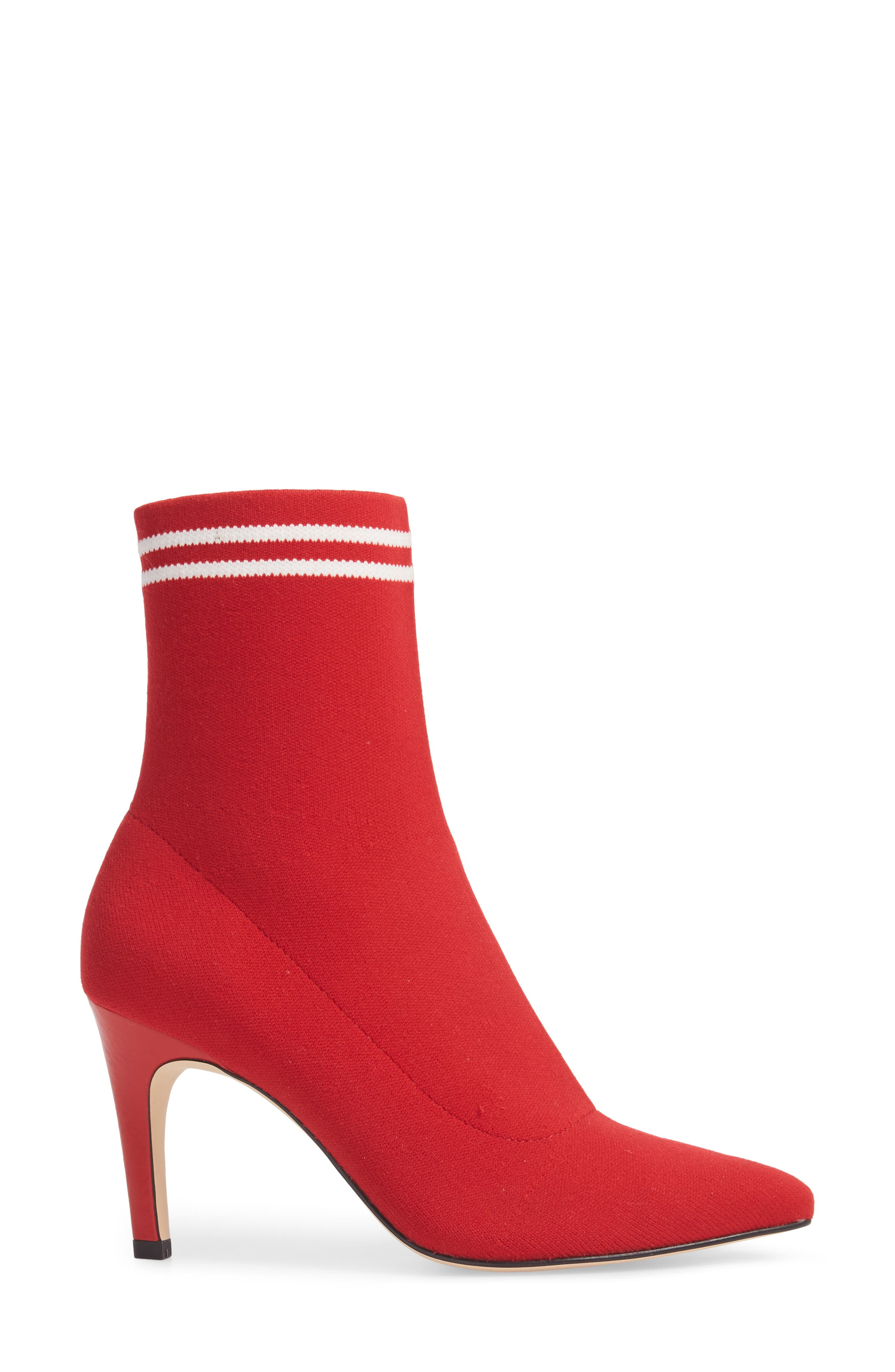 Finn Sock Bootie,                             Alternate thumbnail 3, color,                             Red Stretch
