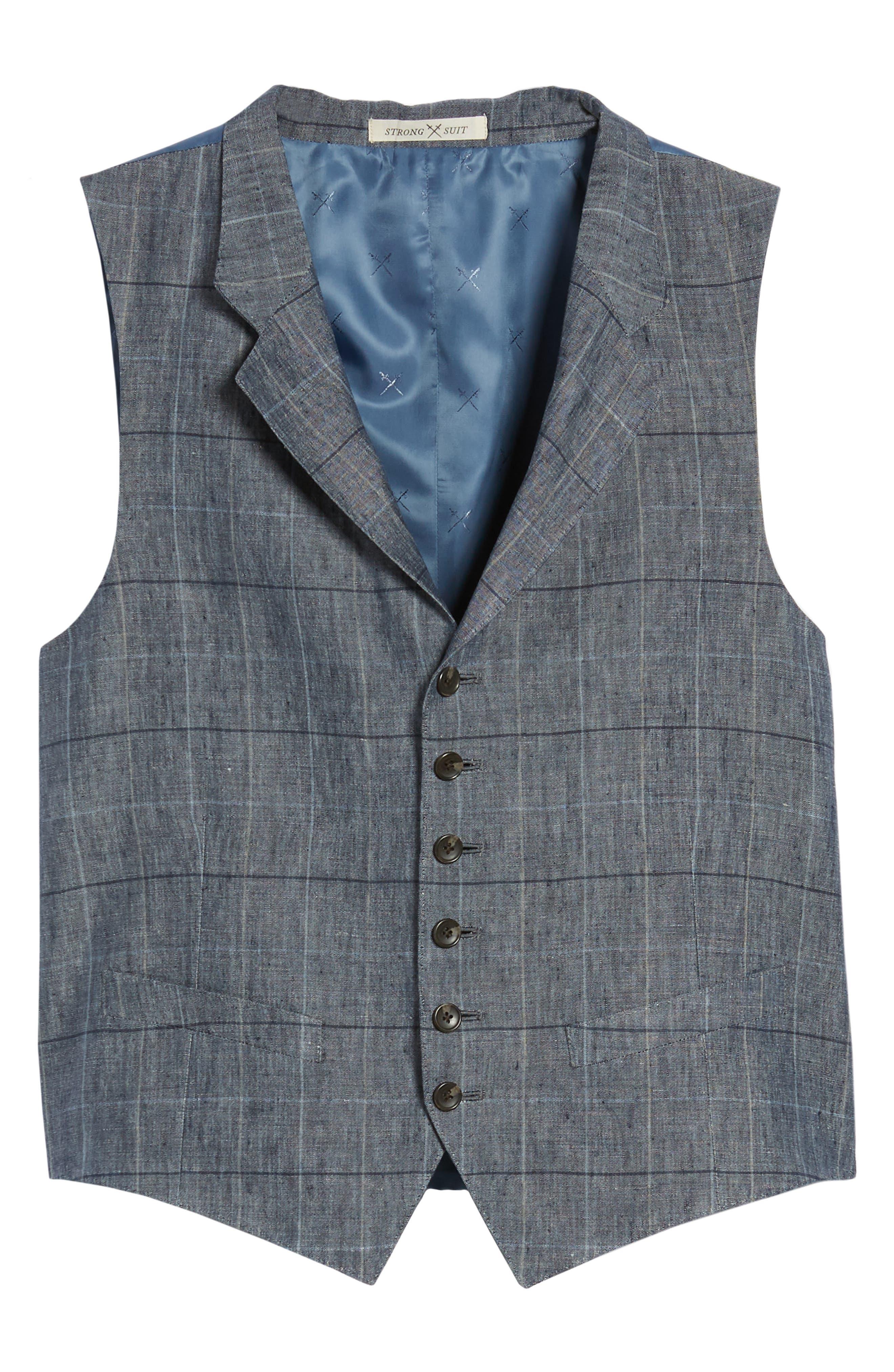 Stag Trim Fit Windowpane Linen Vest,                             Alternate thumbnail 6, color,                             Blue Graphite