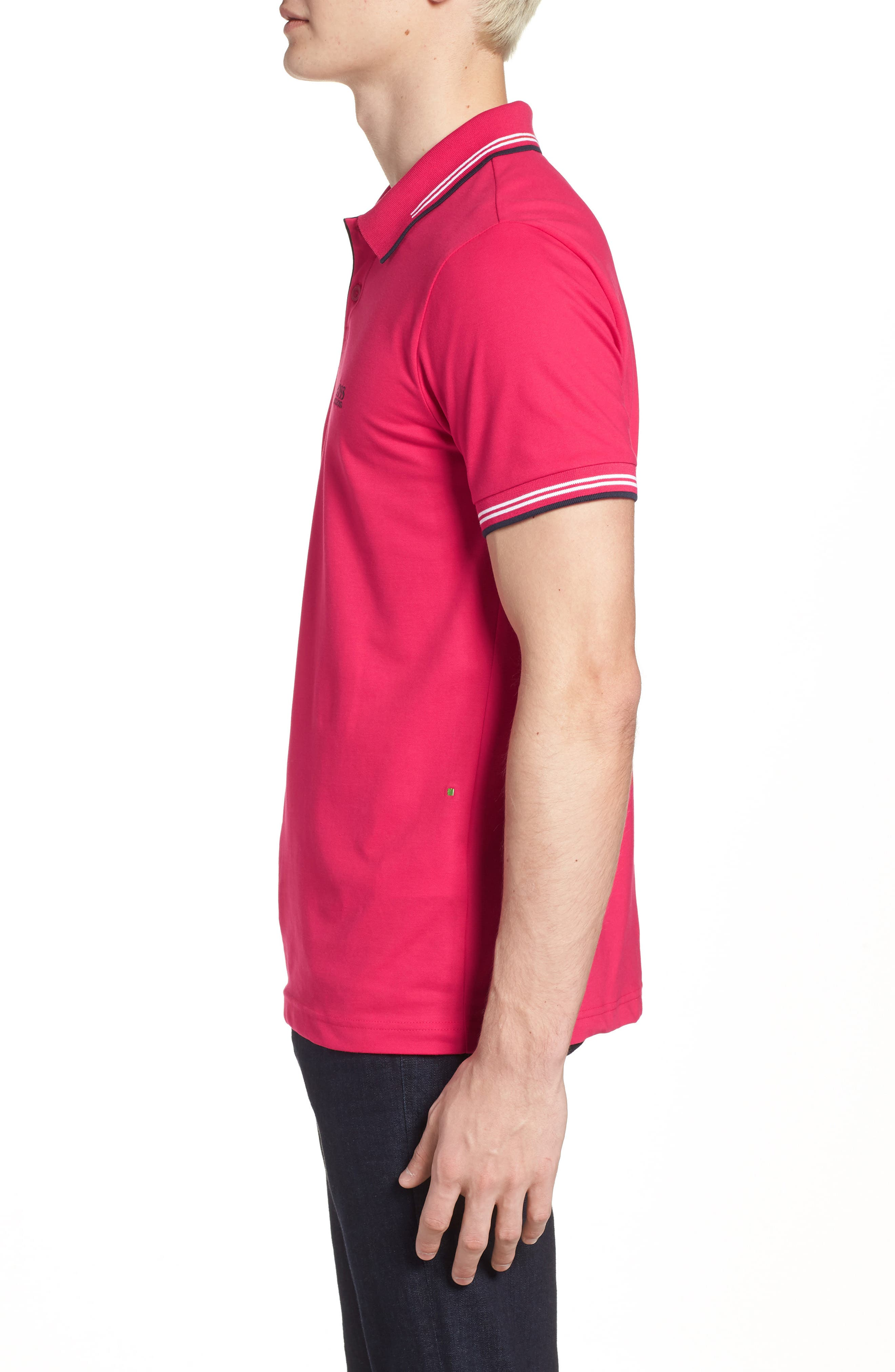Paul Slim Fit Polo,                             Alternate thumbnail 3, color,                             Red