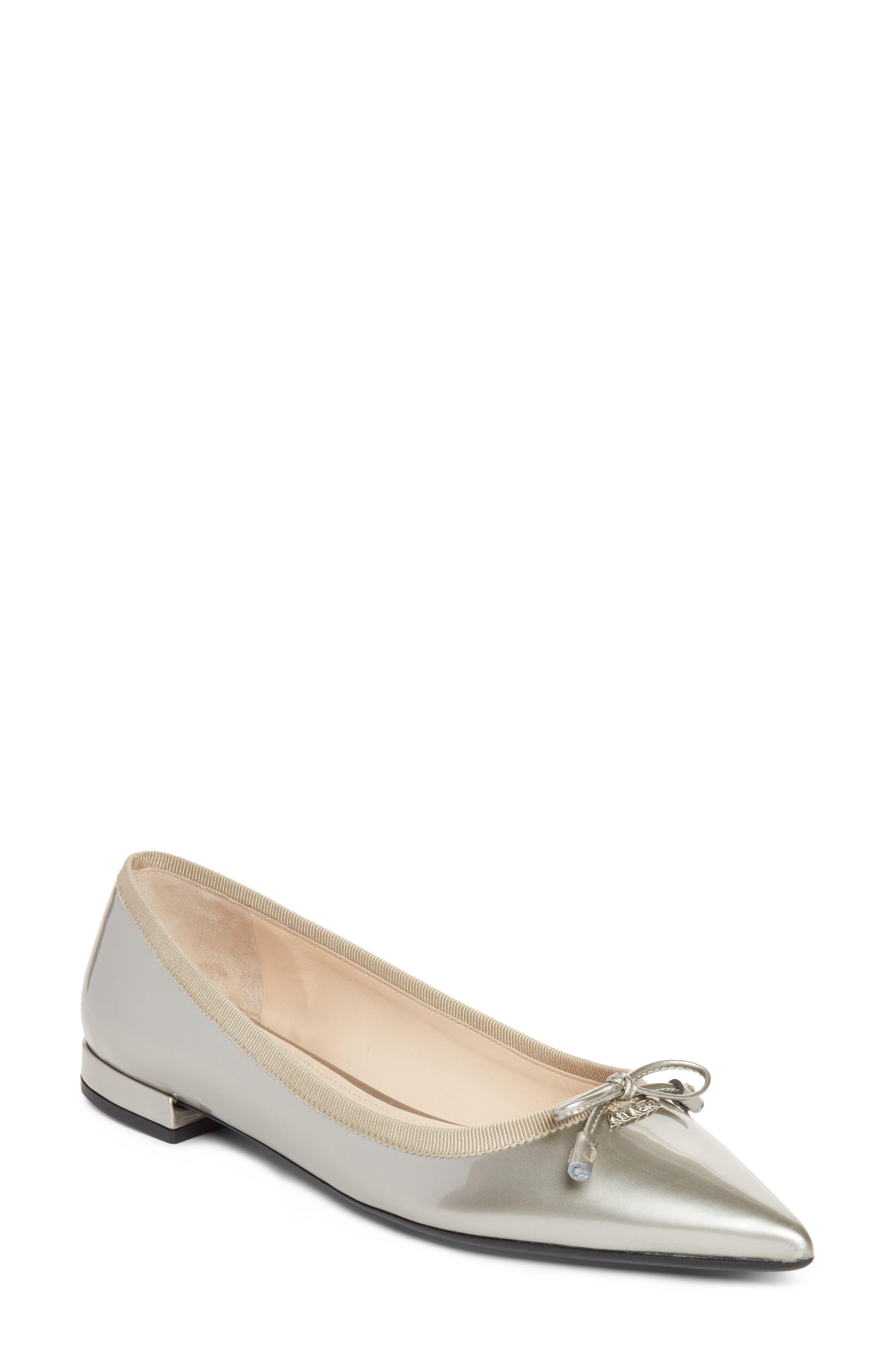 Prada Logo Pointy Toe Ballet Flat (Women)