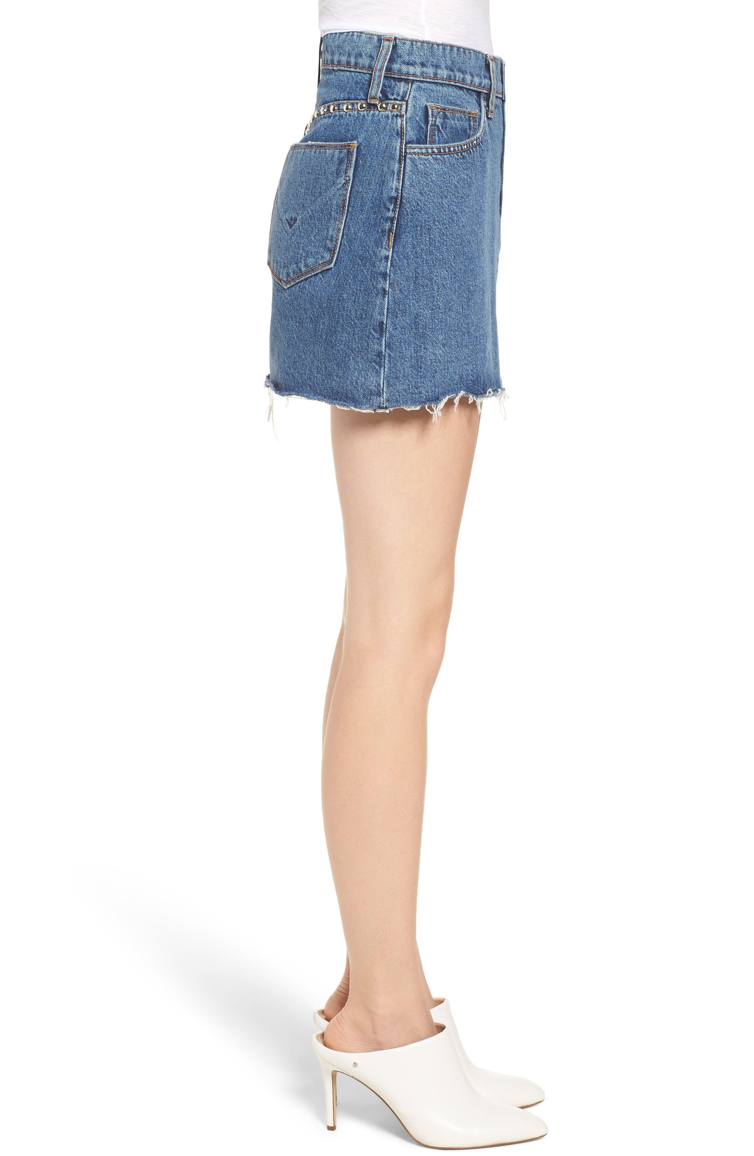 The Viper Cutoff Denim Miniskirt,                             Alternate thumbnail 3, color,                             Vibrant Life