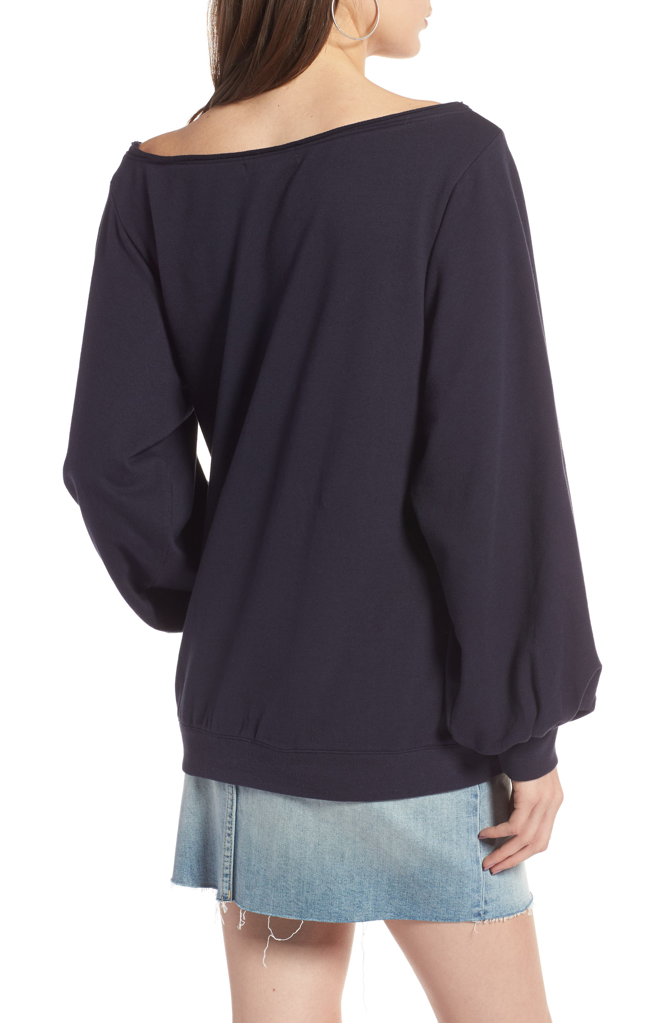 Puff Sleeve Off the Shoulder Top,                             Alternate thumbnail 2, color,                             Navy Night