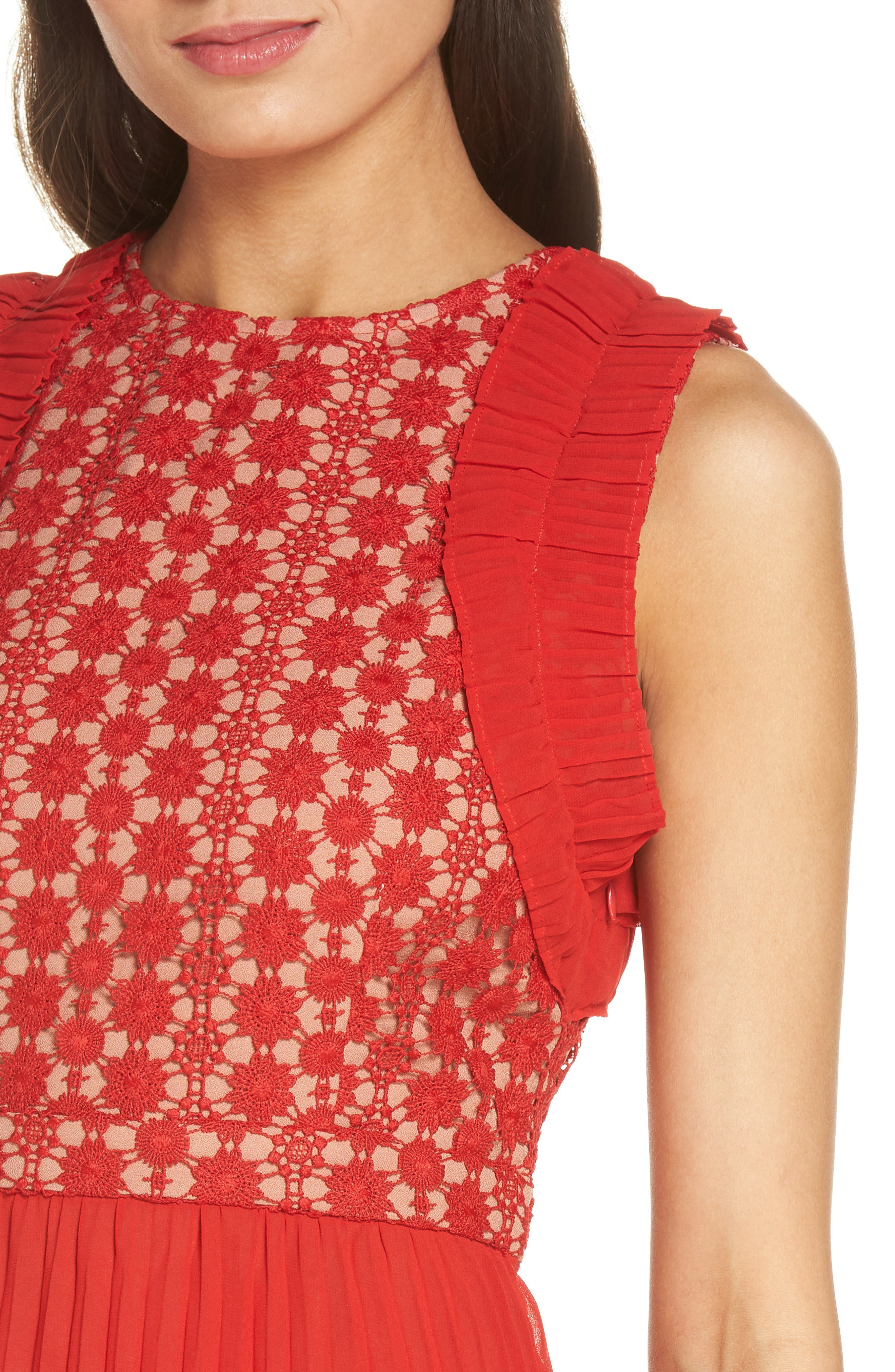 Nealea Pleated Sheath Dress,                             Alternate thumbnail 6, color,                             Red