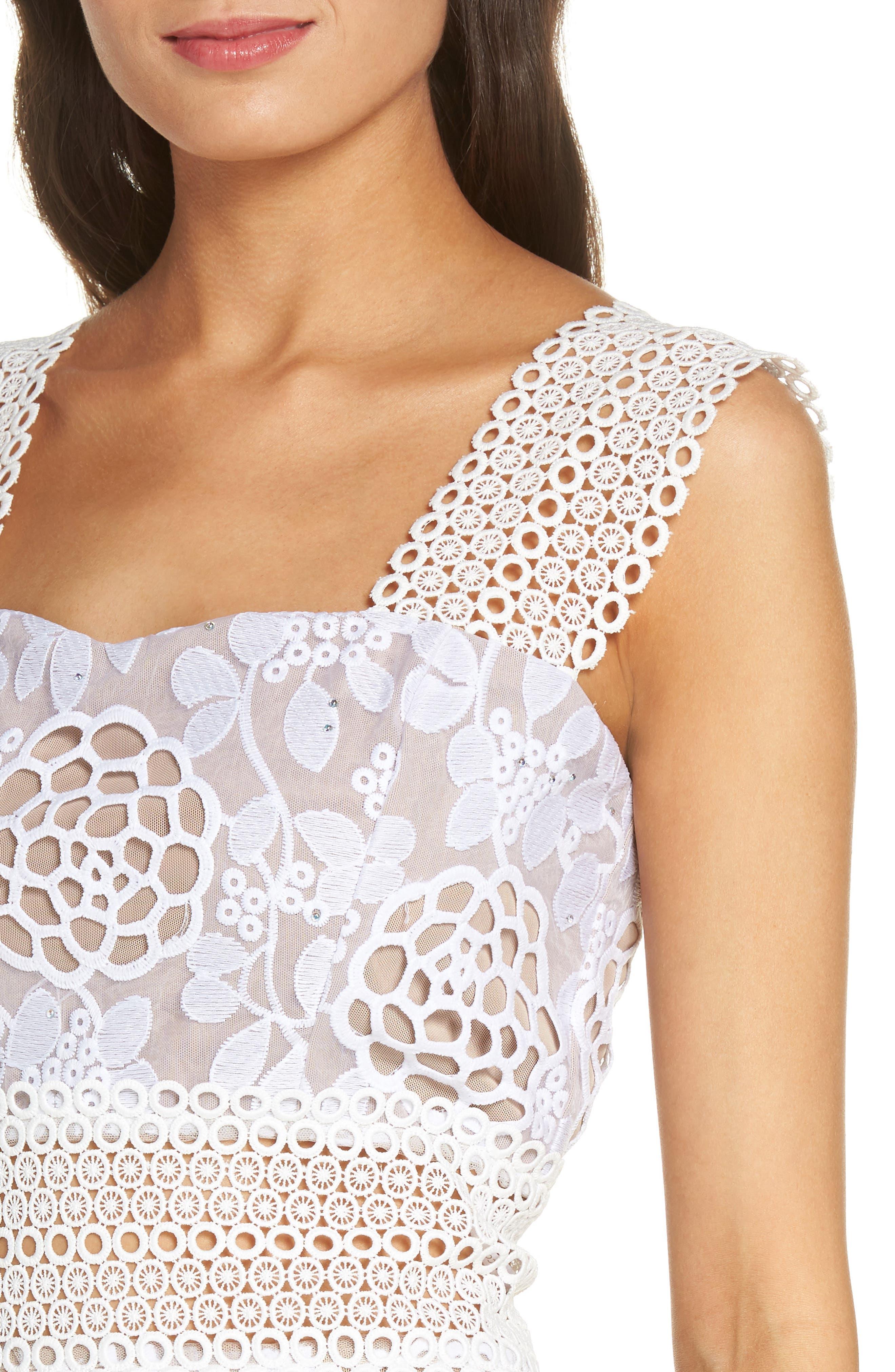 Capri Floral Lace Midi Dress,                             Alternate thumbnail 4, color,                             White