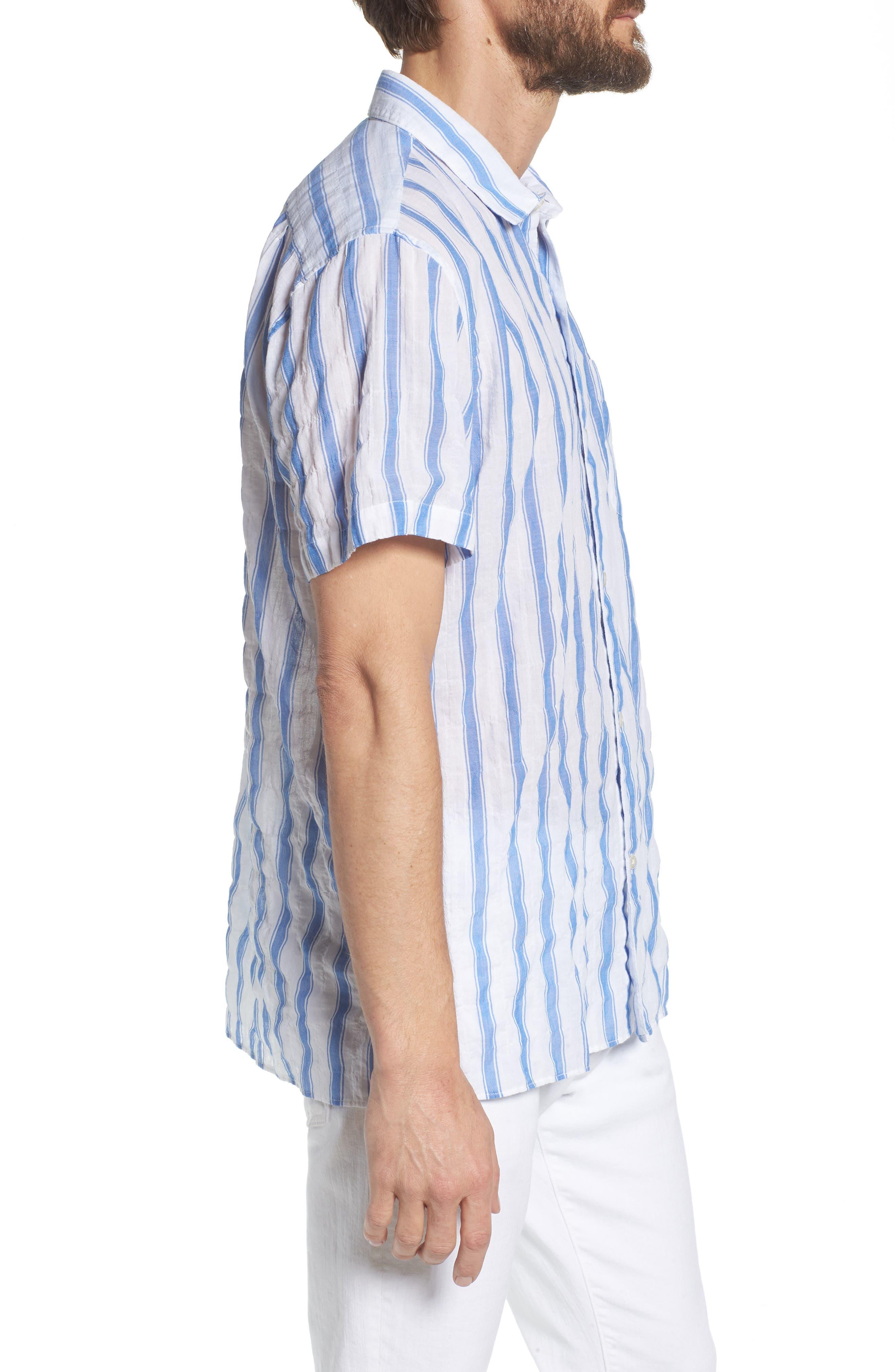 Beach Slim Fit Stripe Sport Shirt,                             Alternate thumbnail 4, color,                             Crinkle Polpis - Coast Azure