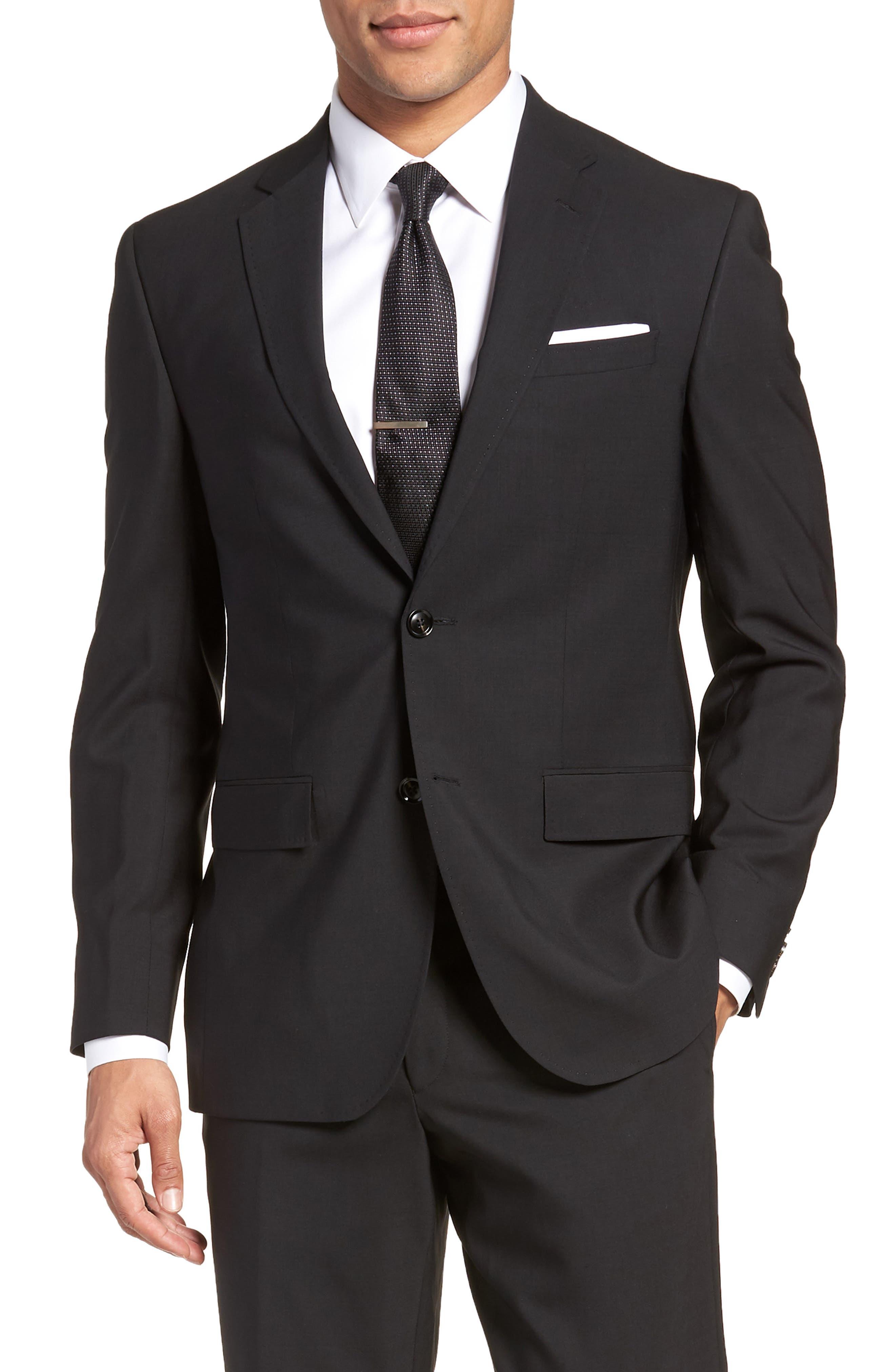 Jay Trim Fit Solid Wool Suit,                             Alternate thumbnail 5, color,                             Black