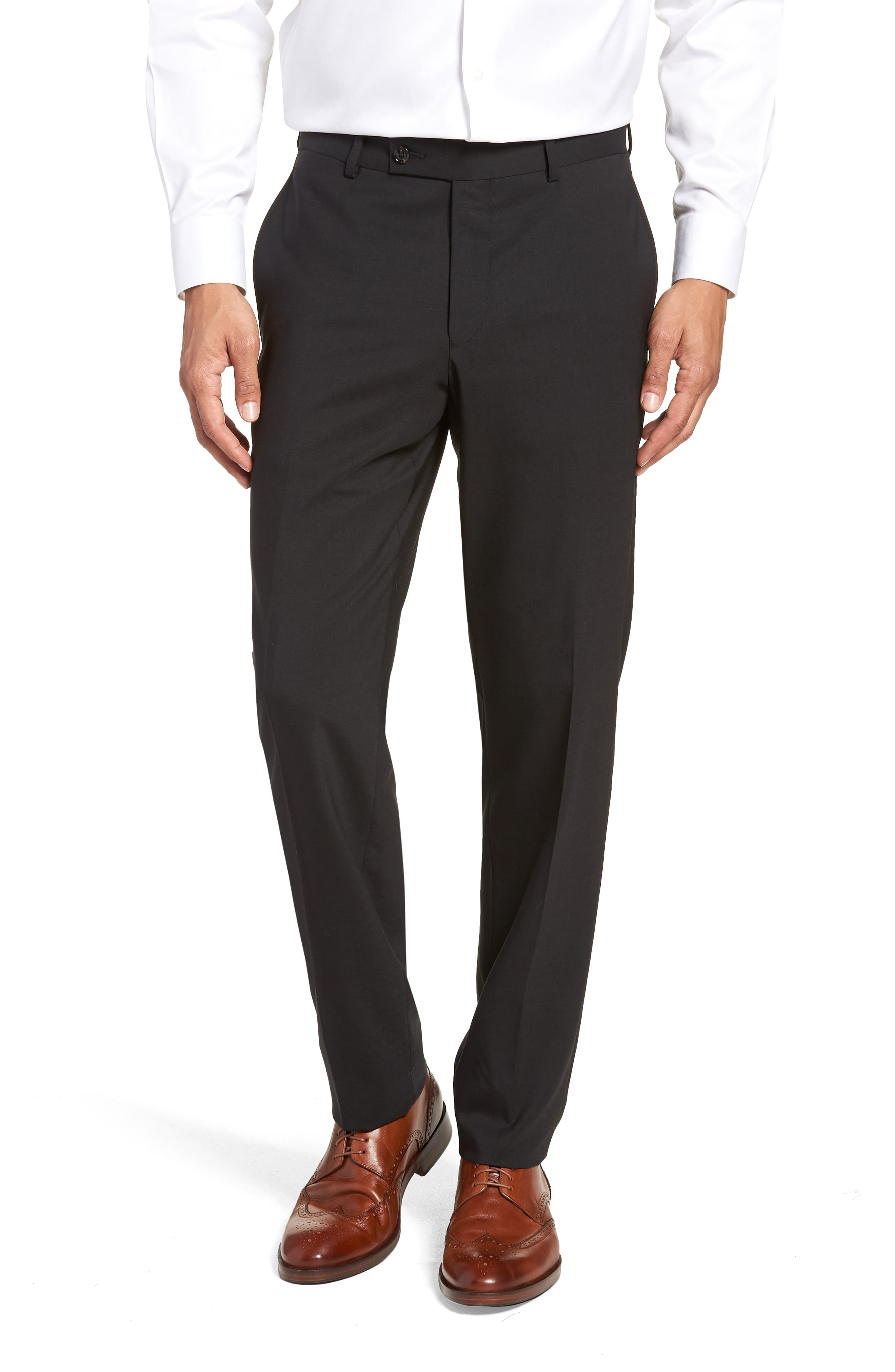 Jay Trim Fit Solid Wool Suit,                             Alternate thumbnail 6, color,                             Black