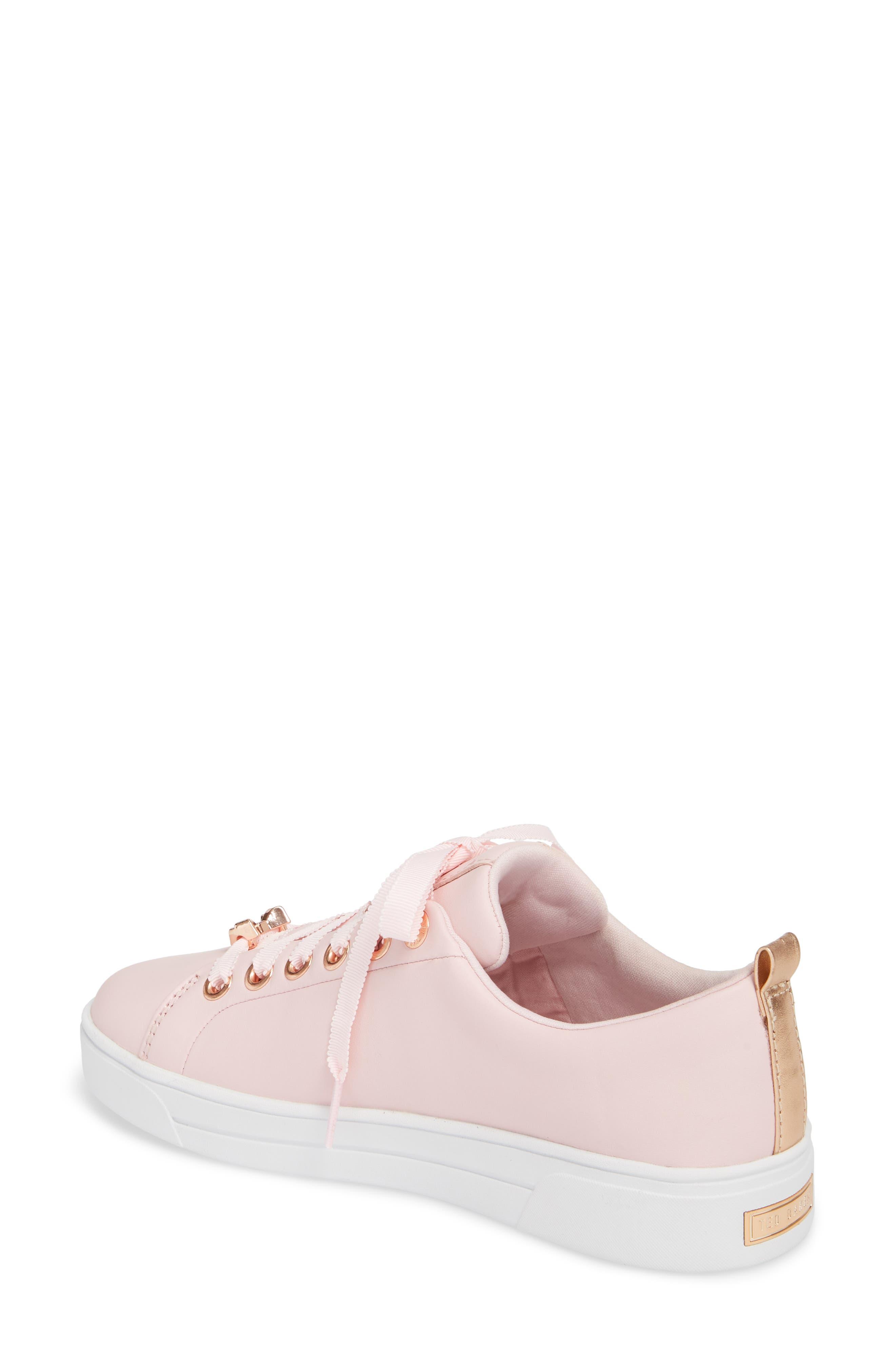 Kelleie Embroidered Sneaker,                             Alternate thumbnail 2, color,                             Mink Pink Leather