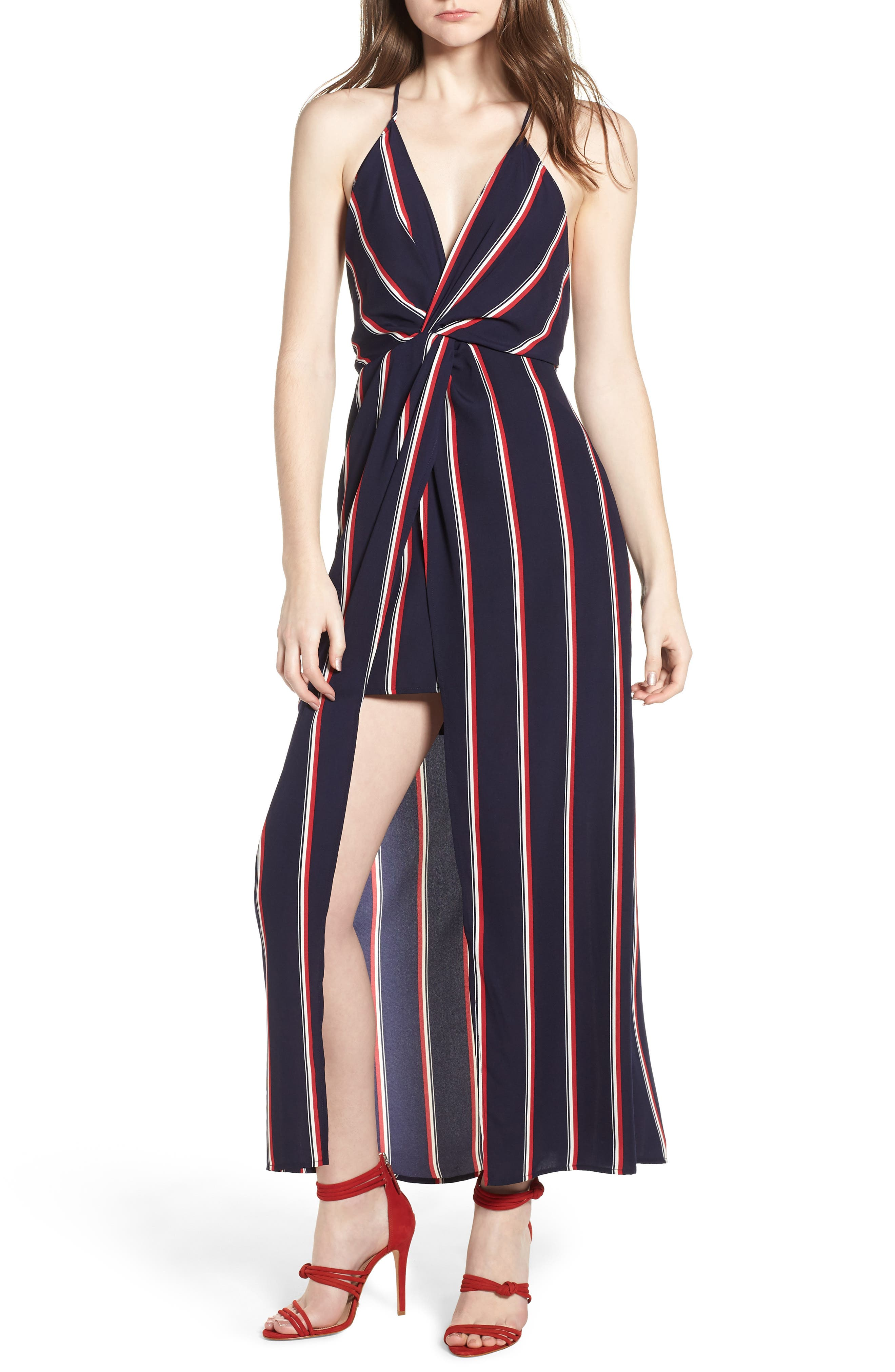 Print Maxi Dress,                             Main thumbnail 1, color,                             Navy/ Red Stripe