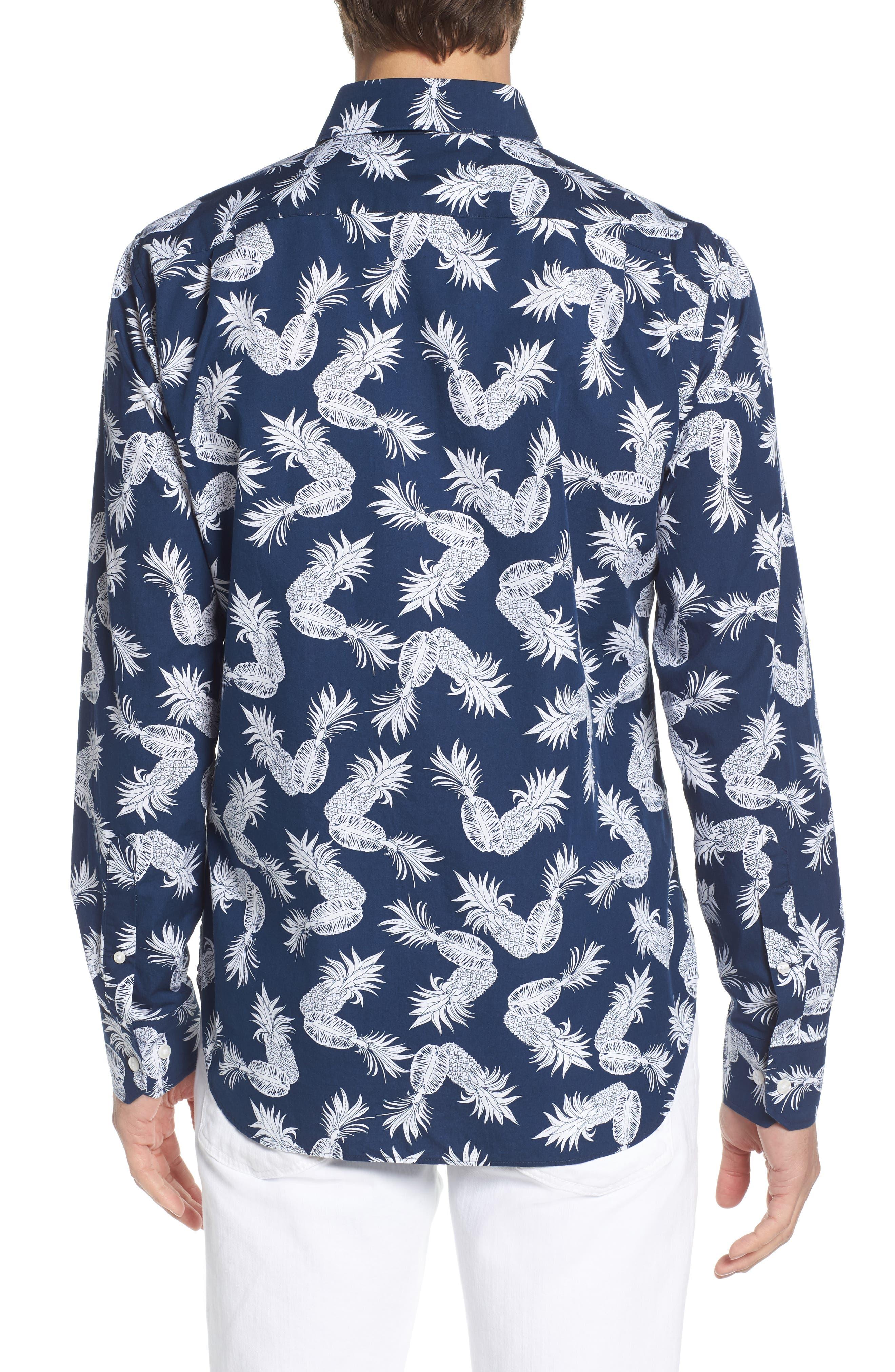 Unbutton Down Slim Fit Print Sport Shirt,                             Alternate thumbnail 3, color,                             Fancy Pineapples - Pacific
