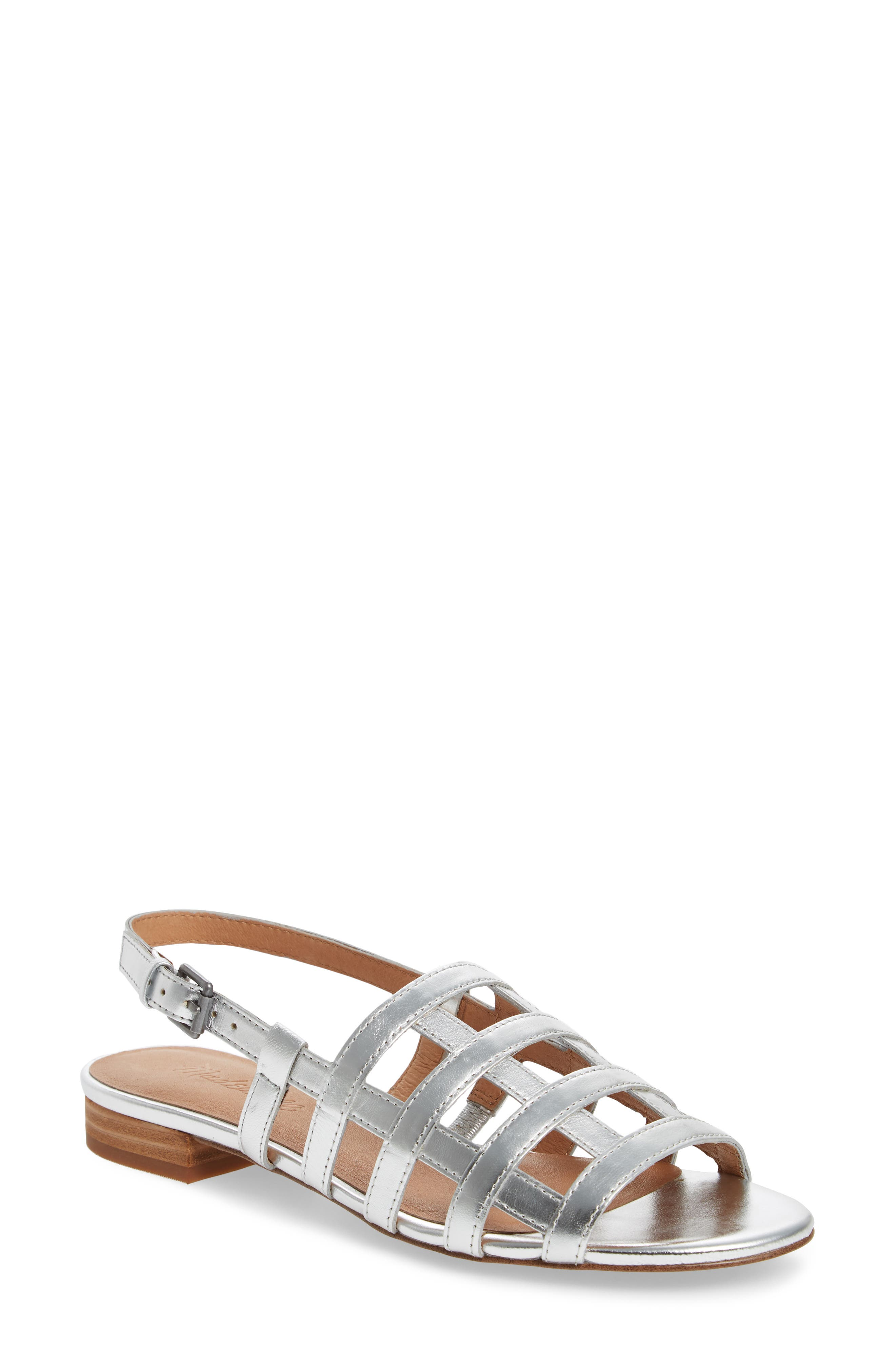 Rowan Cage Sandal,                             Main thumbnail 1, color,                             Silver Metallic Leather