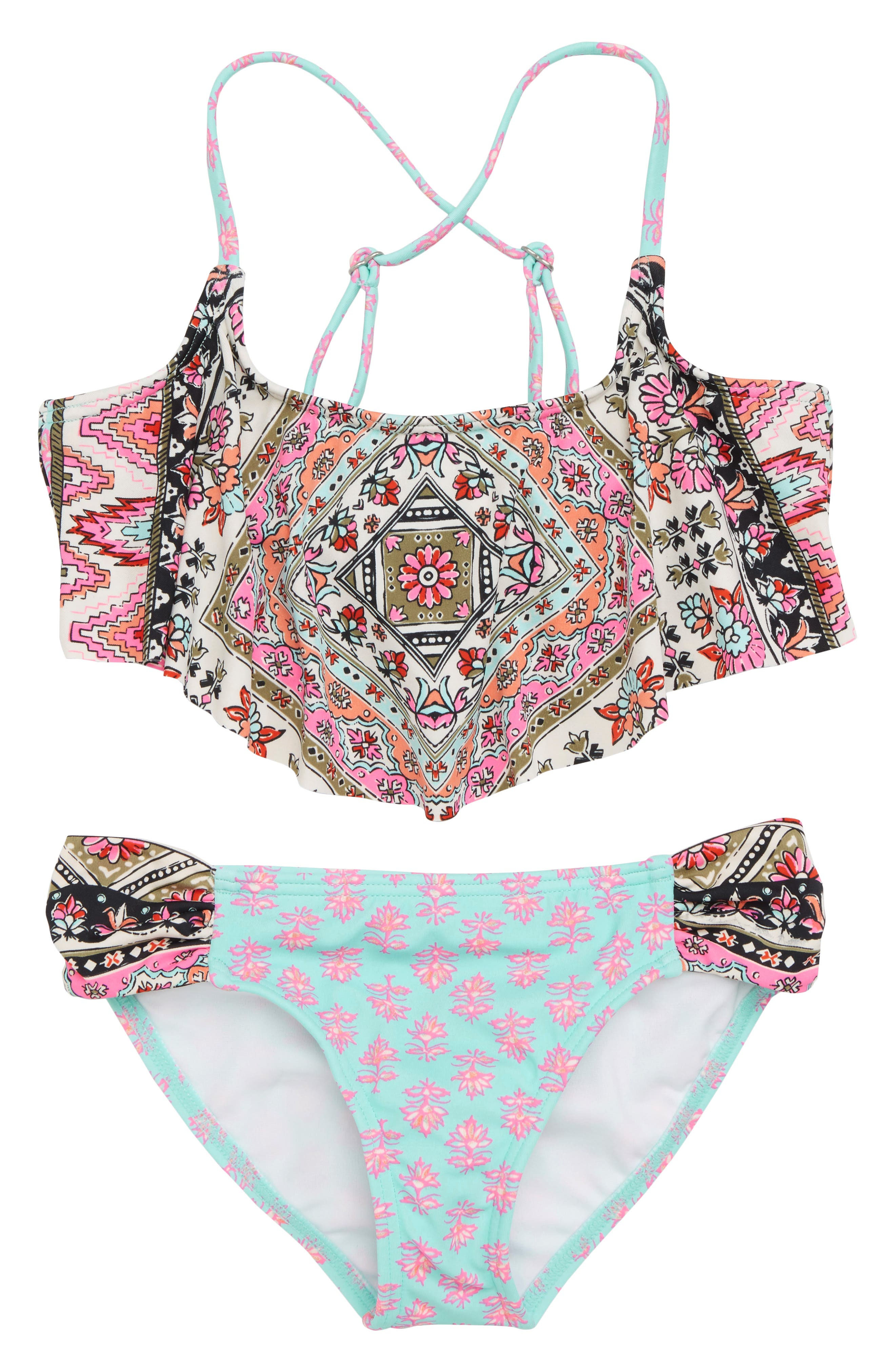 Moon Tribe Cold Shoulder Two-Piece Swimsuit,                             Main thumbnail 1, color,                             Multi