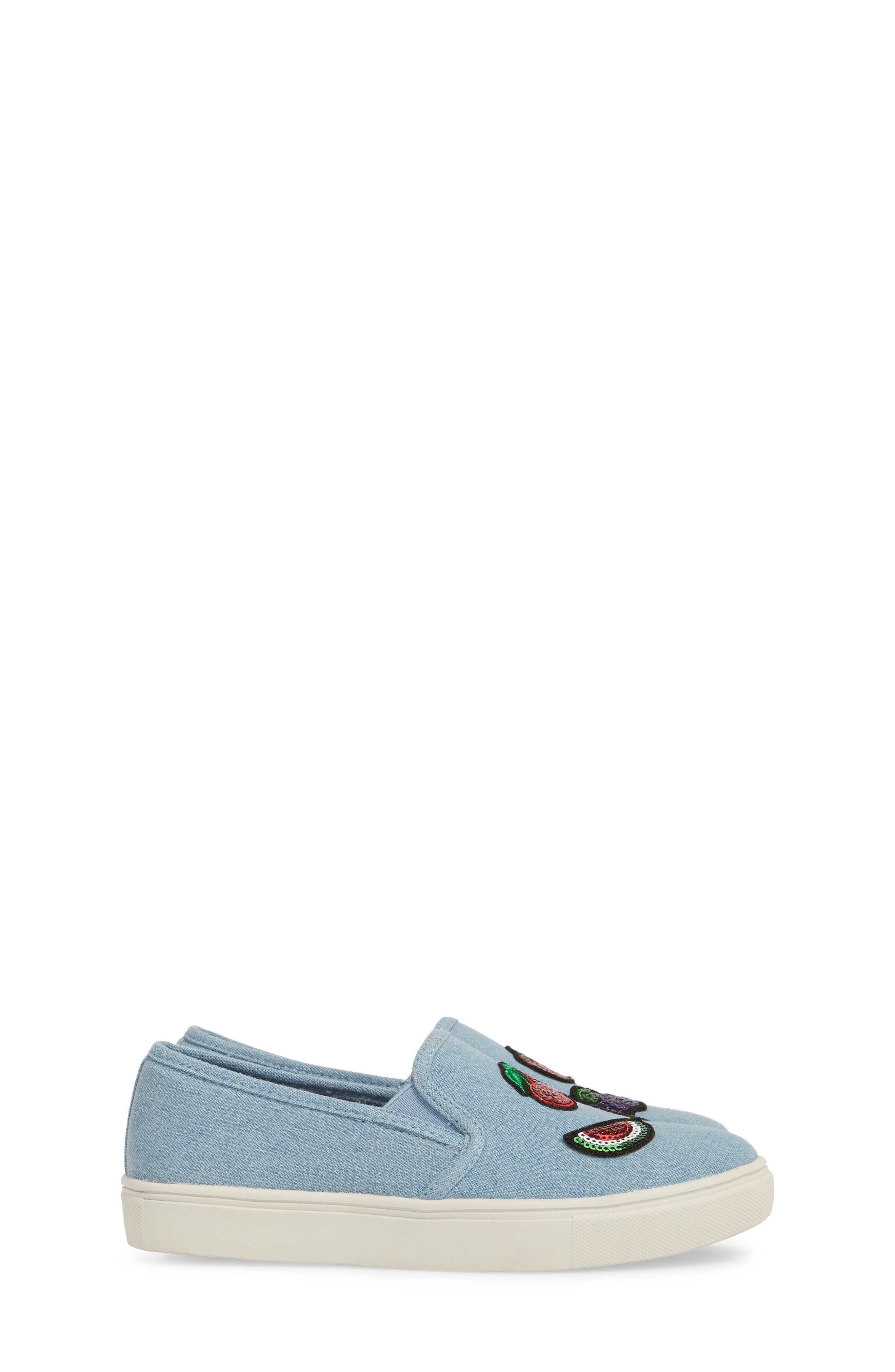 Twinny Snack Appliqué Sneaker,                             Alternate thumbnail 4, color,                             Chambray Fabric