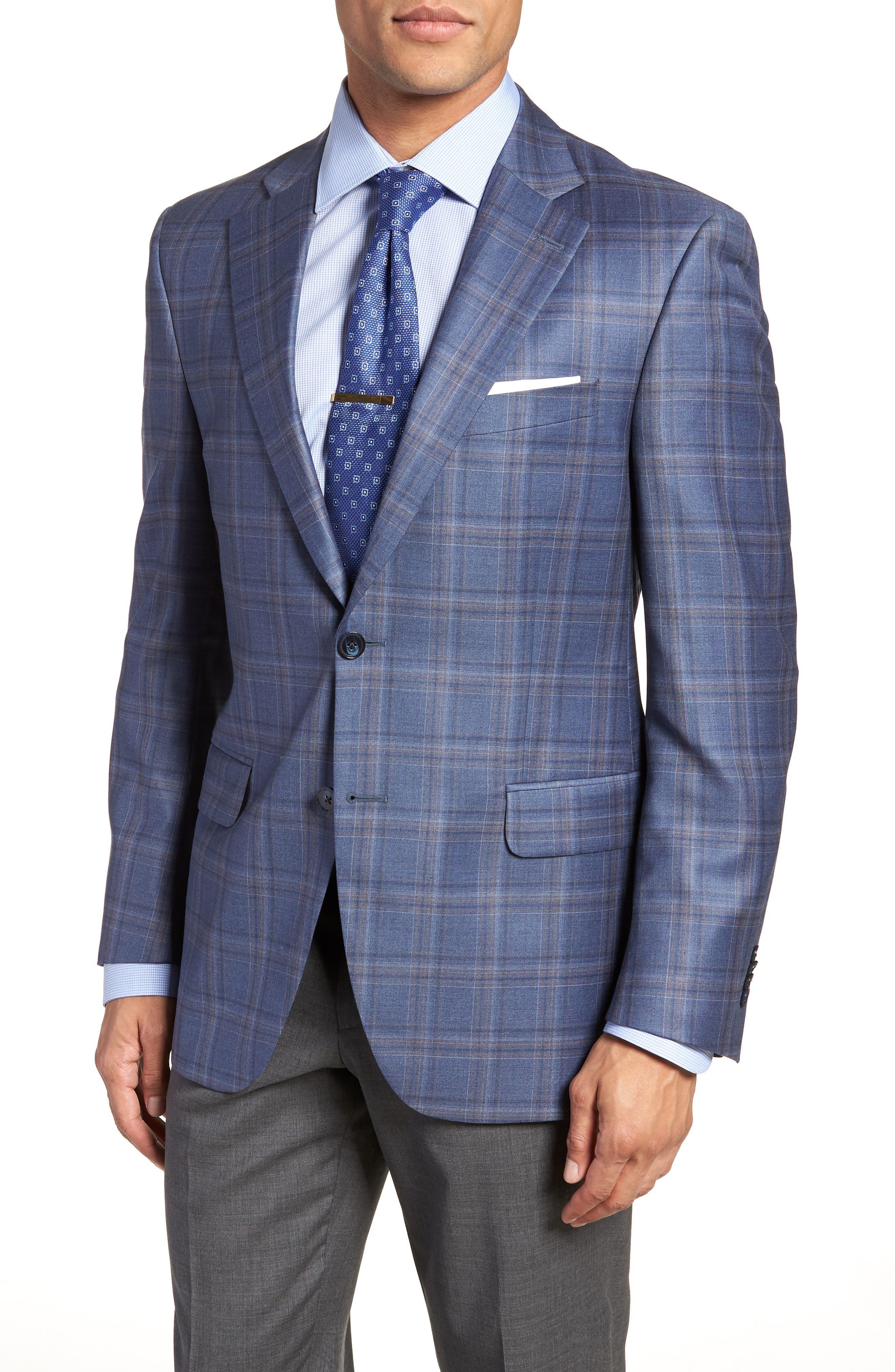Classic Fit Windowpane Wool Sport Coat,                         Main,                         color, Blue