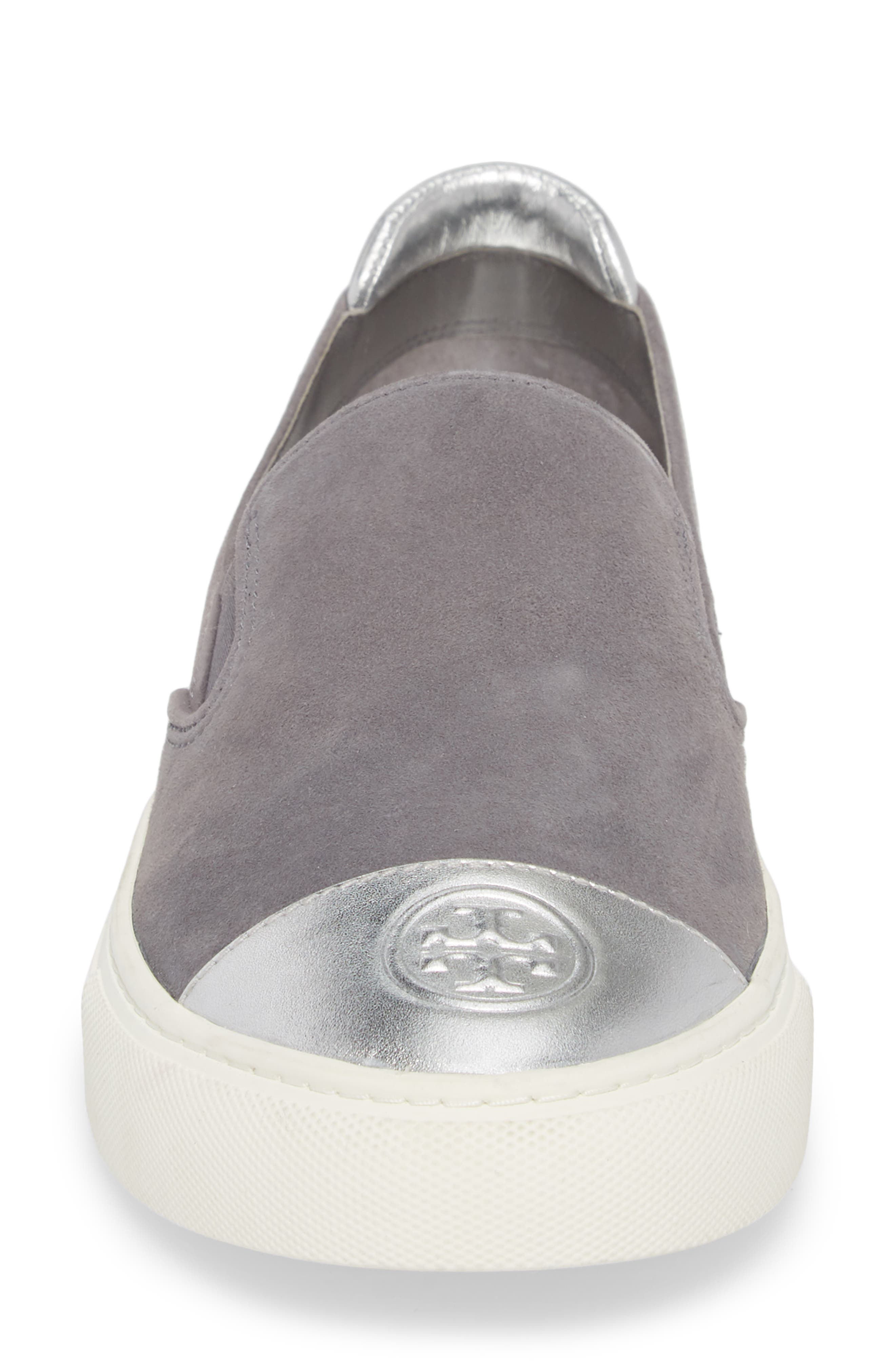 Colorblock Slip-On Sneaker,                             Alternate thumbnail 4, color,                             Carbon/ Silver