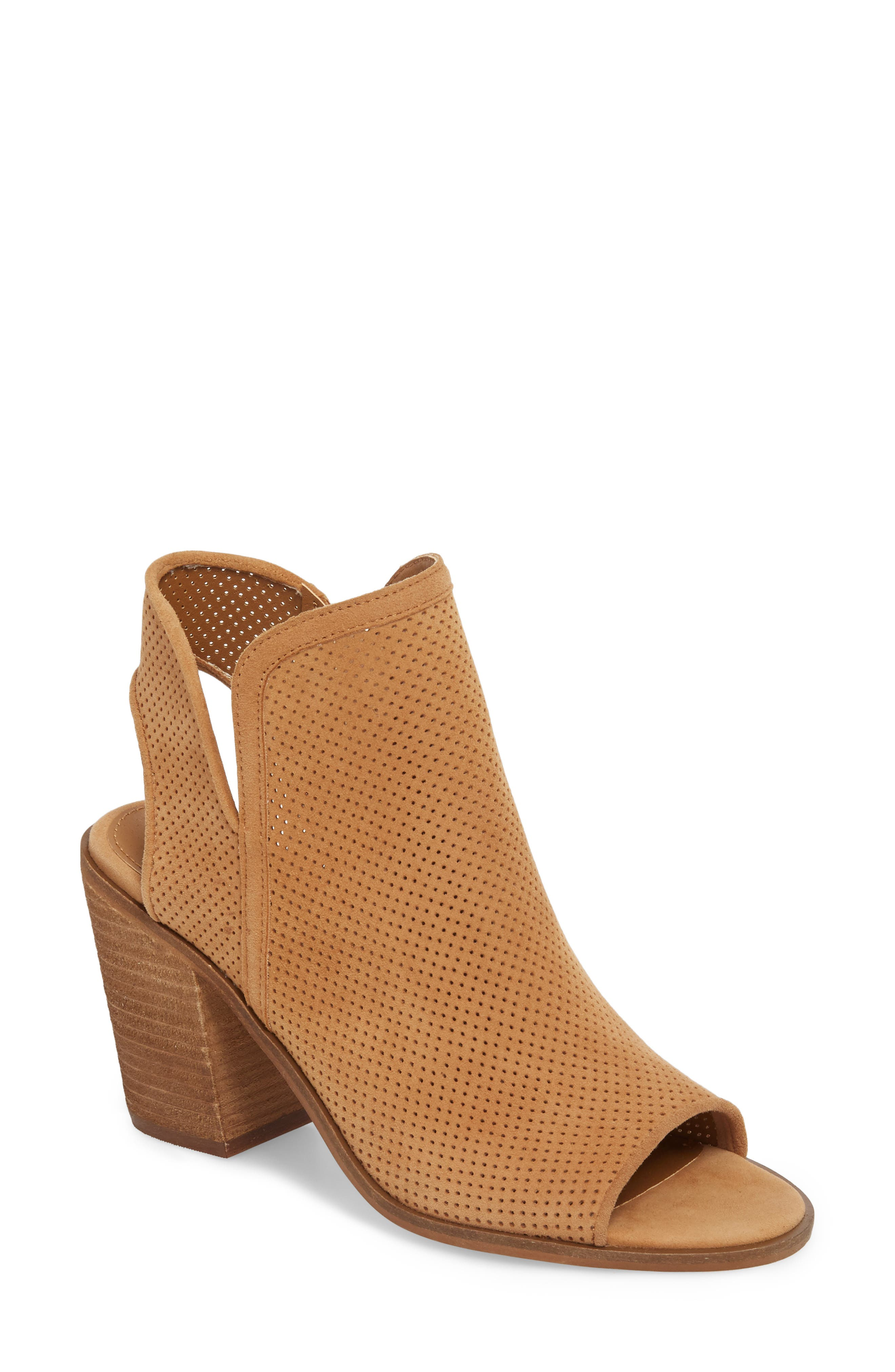 Maxine Perforated Bootie,                             Main thumbnail 1, color,                             Cognac Suede
