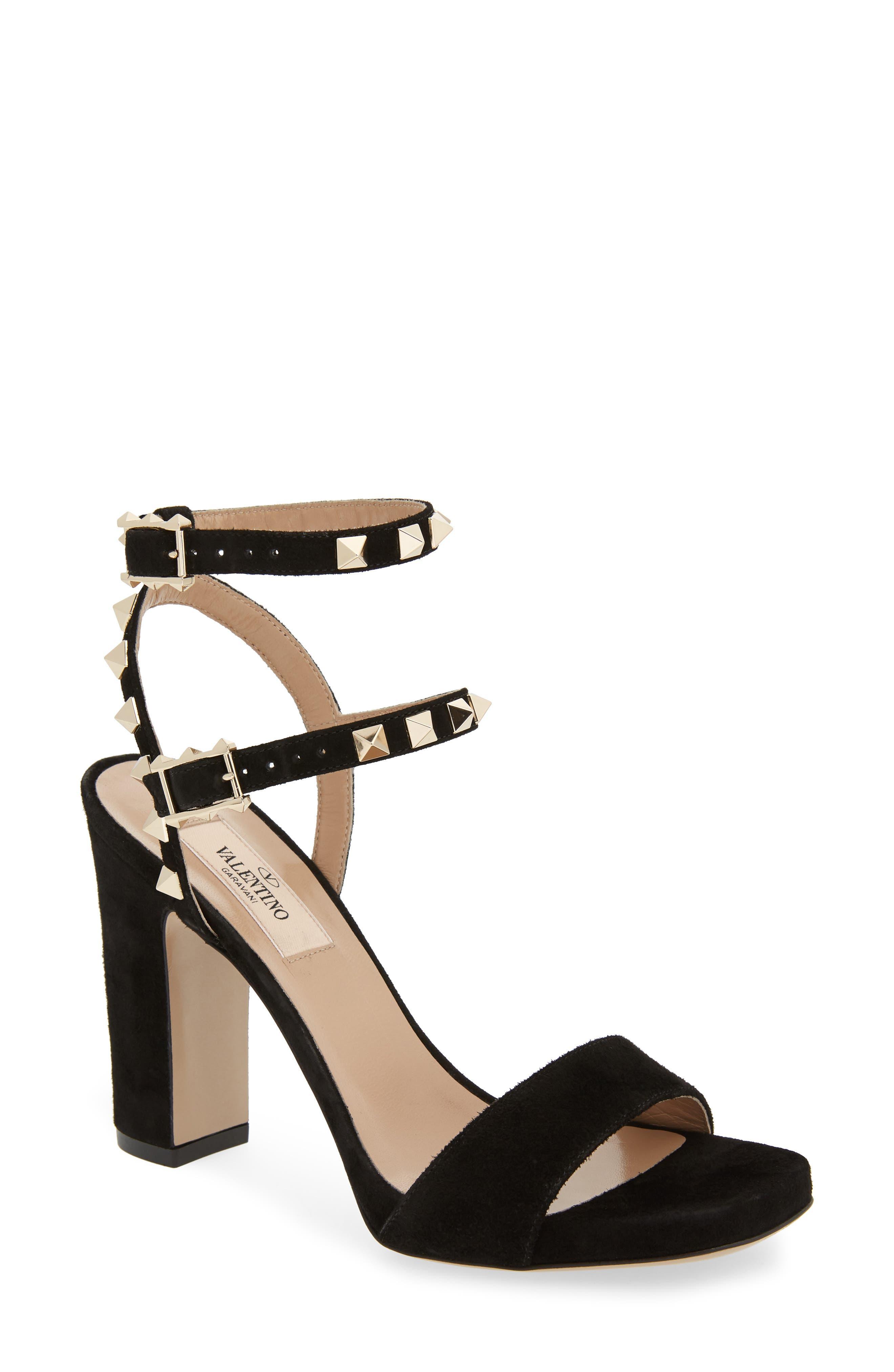 Rockstud Sandal,                         Main,                         color, Black