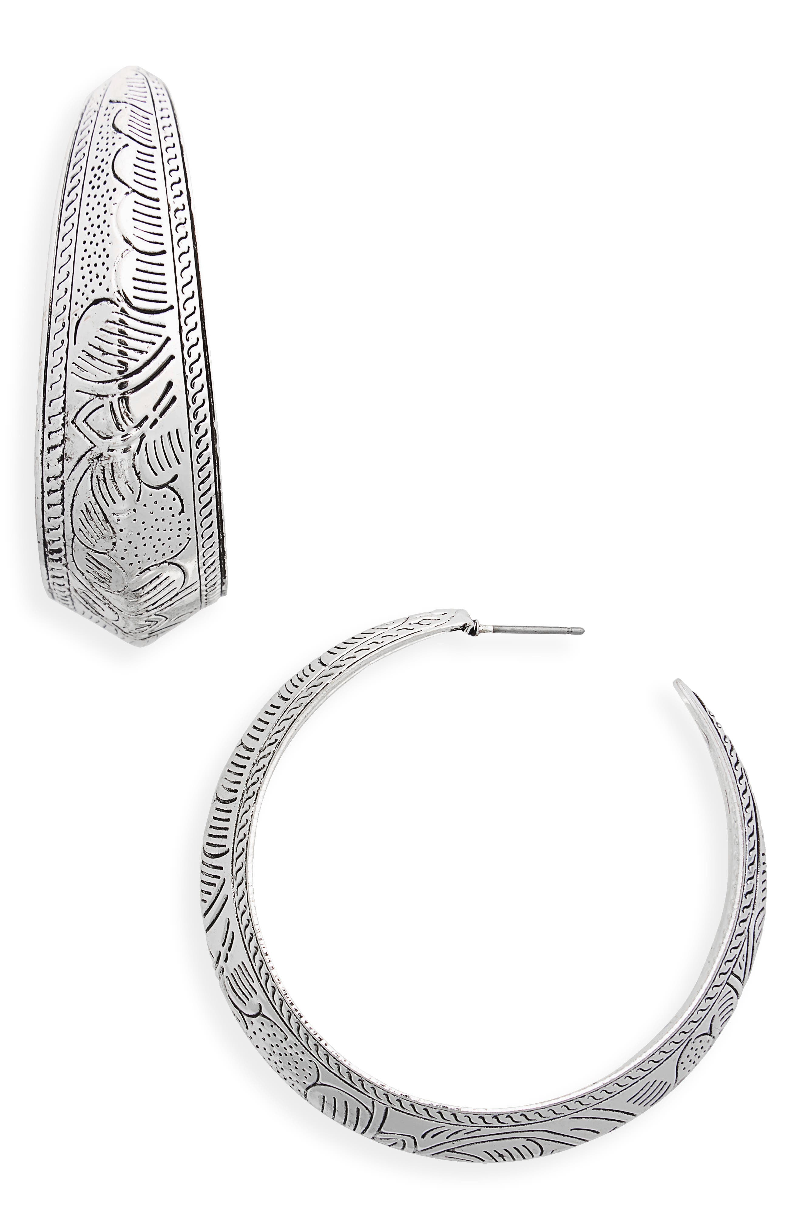 Etched Western Hoop Earrings,                             Main thumbnail 1, color,                             Silver