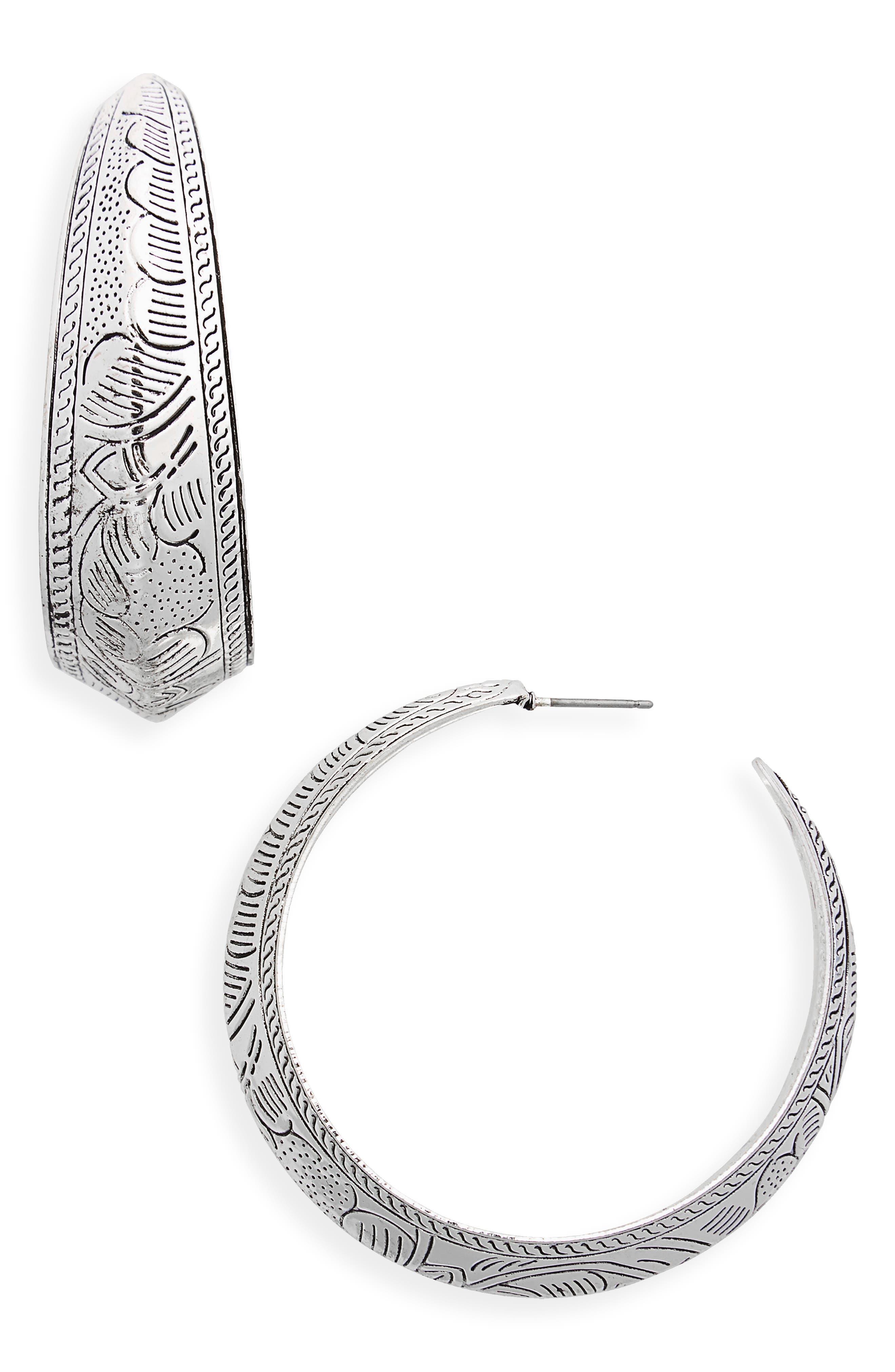 Etched Western Hoop Earrings,                         Main,                         color, Silver