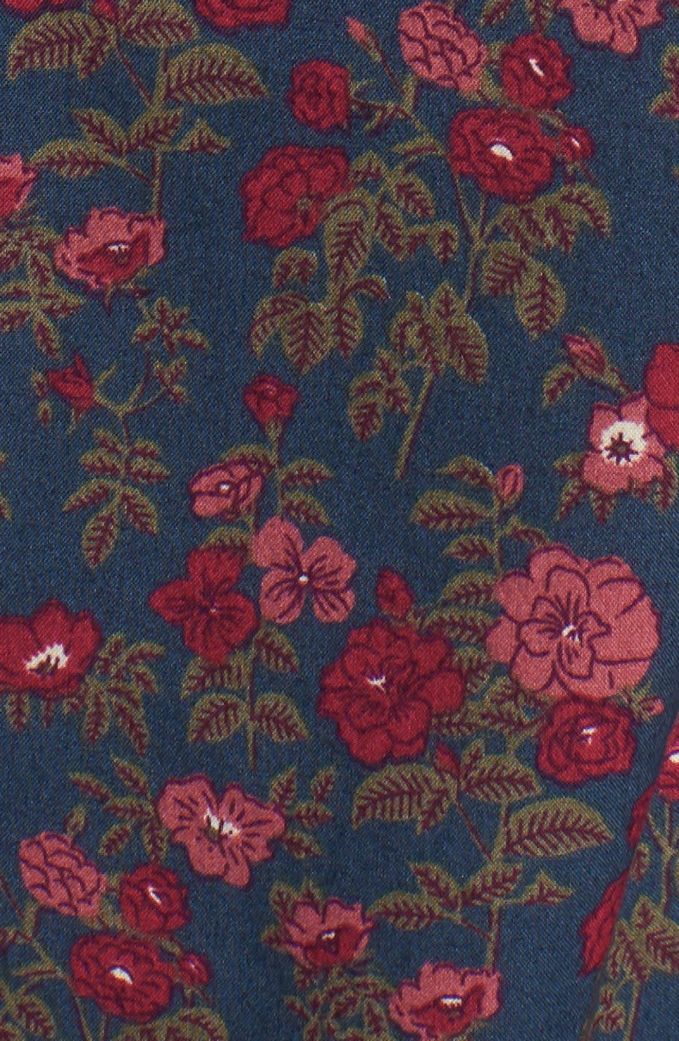 Riviera Slim Fit Floral Print Sport Shirt,                             Alternate thumbnail 5, color,                             Dandy Floral - Pickled Beet