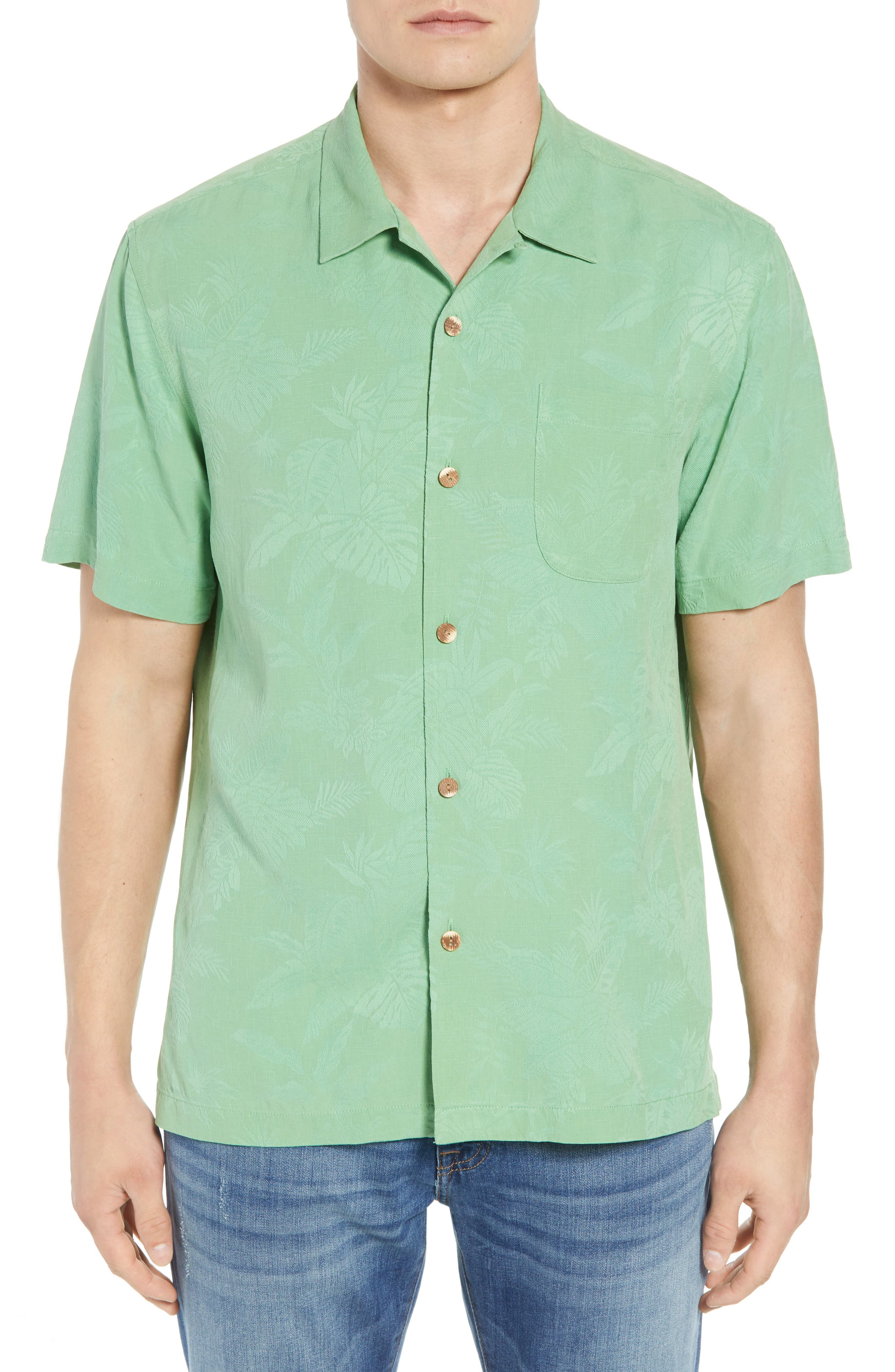 St Lucia Fronds Silk Camp Shirt,                             Main thumbnail 1, color,                             Tulum