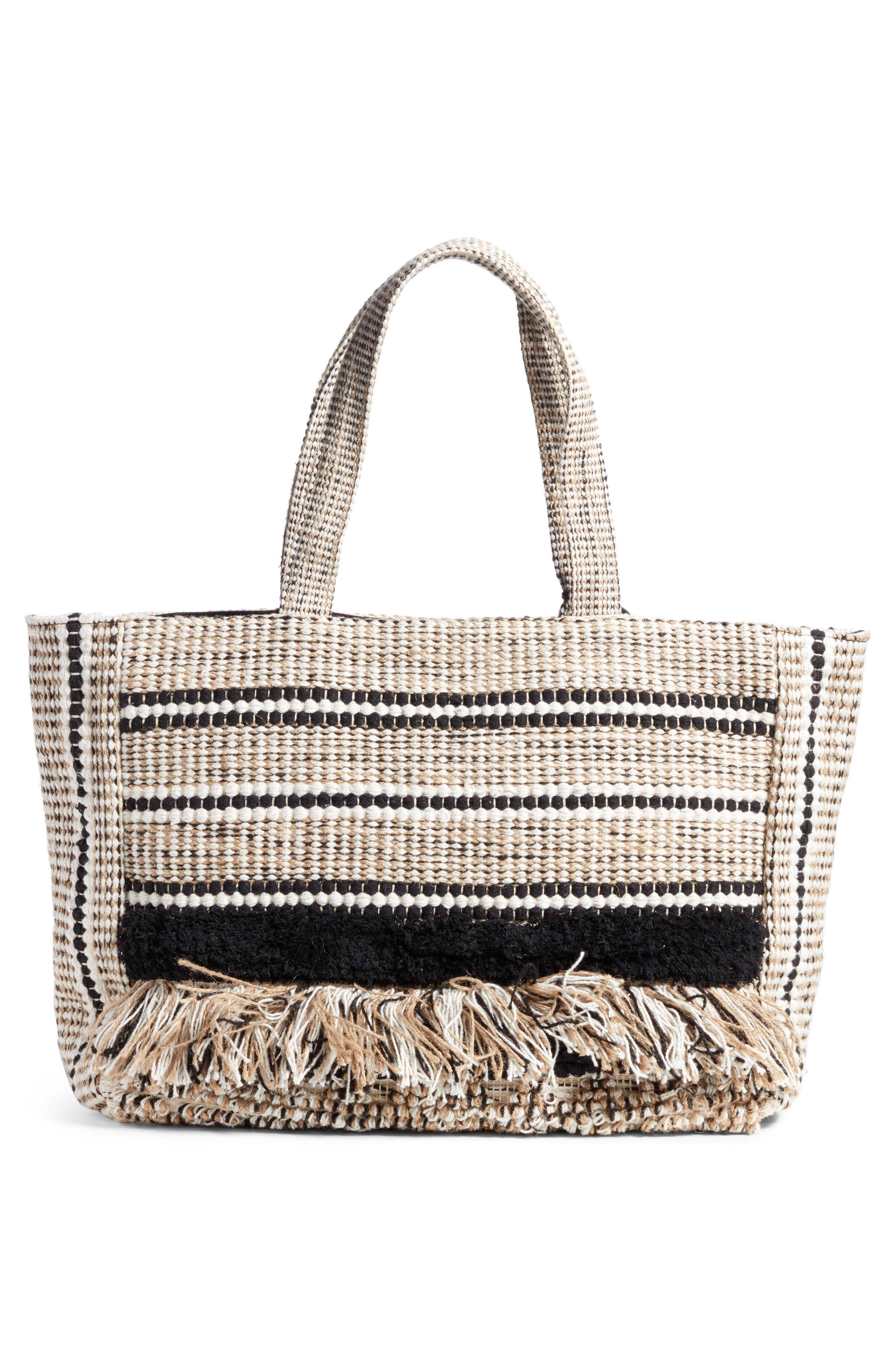 Carried Away Woven Weekend Tote,                             Alternate thumbnail 3, color,                             Black Sands