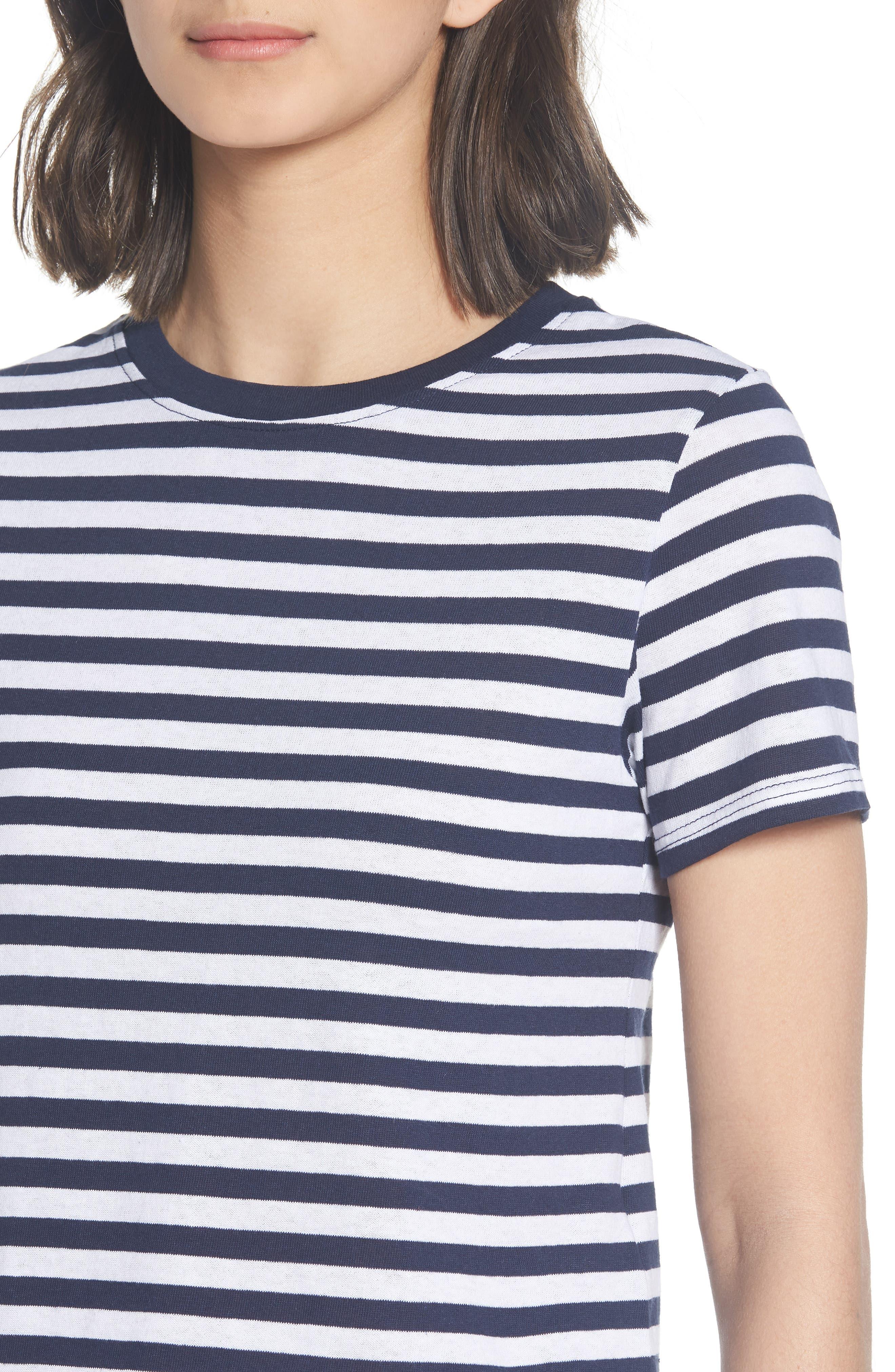 Crop Stripe Tee,                             Alternate thumbnail 4, color,                             Navy Blue Multi