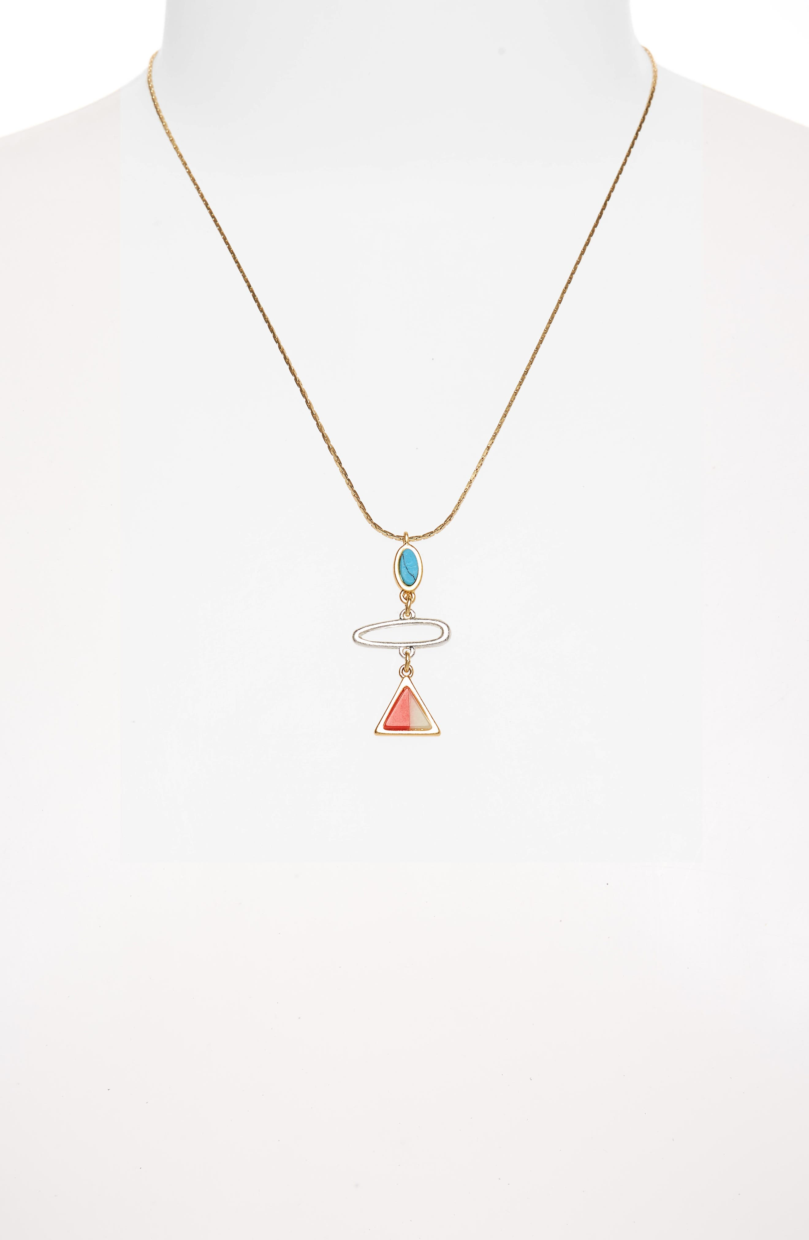 Stone Inlay Pendant Necklace,                             Alternate thumbnail 2, color,                             Vintage Gold