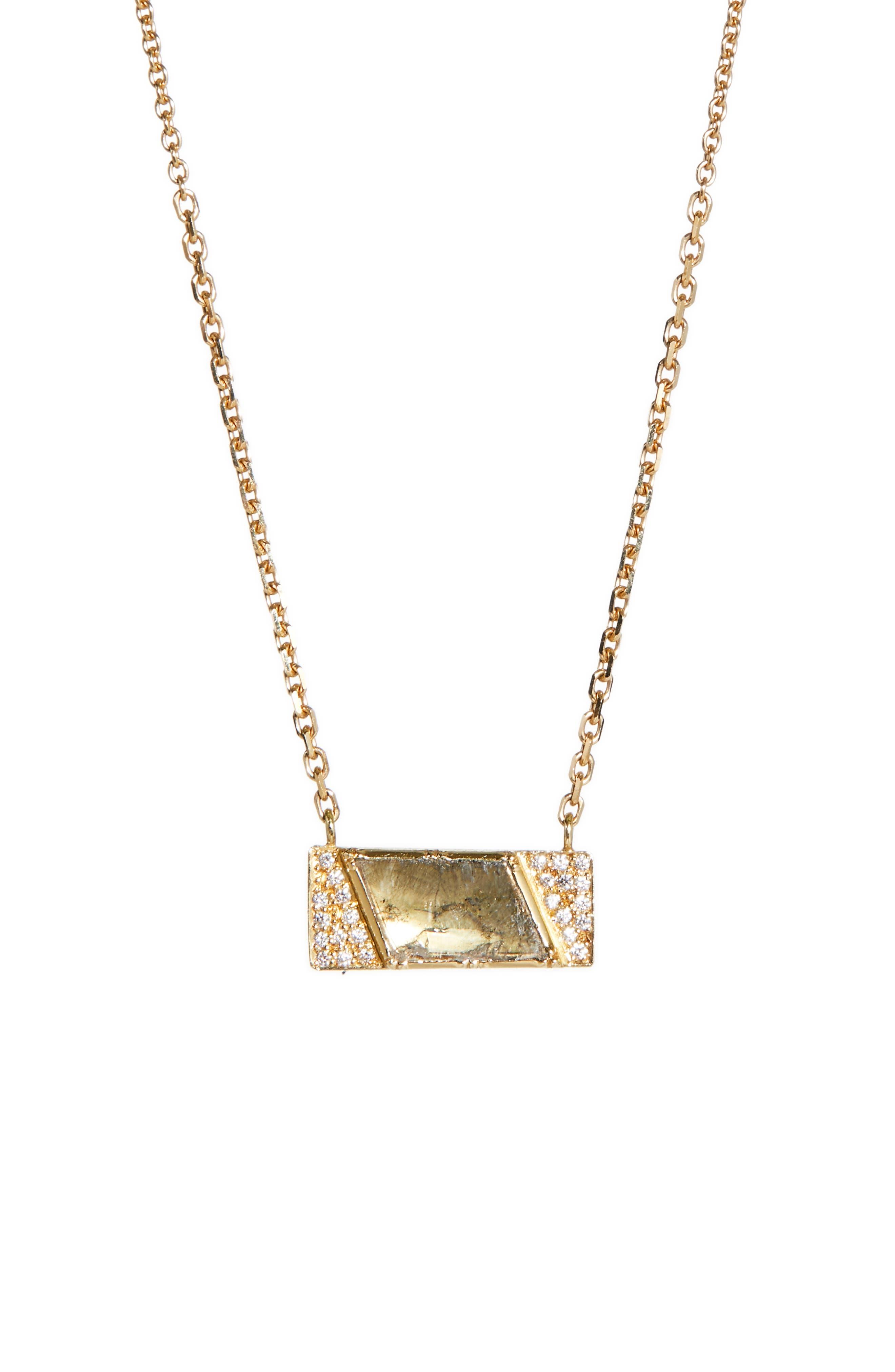 BROOKE GREGSON DIAMOND SLICE GEO HALO NECKLACE