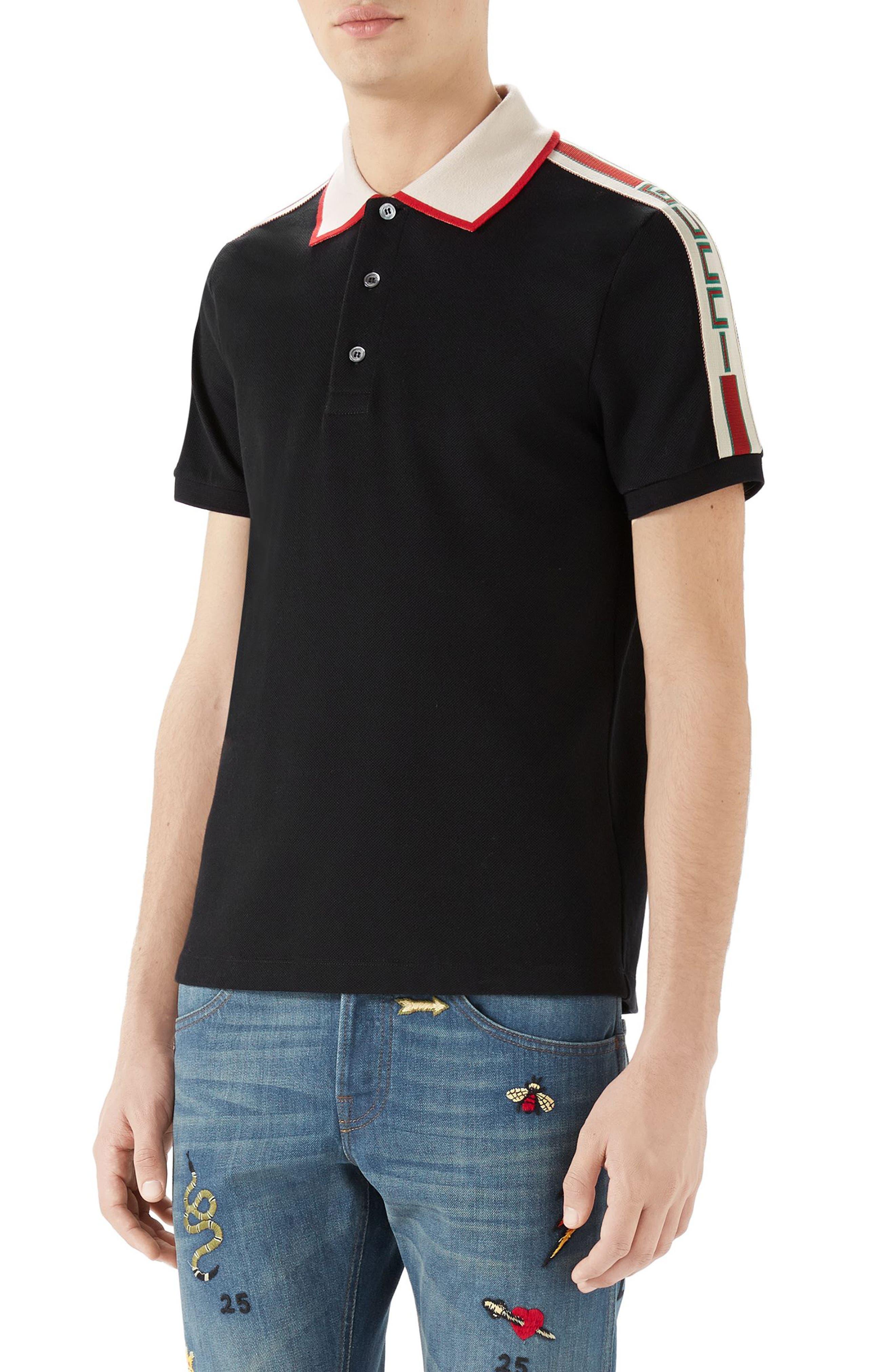 Jacquard Stripe Sleeve Piqué Polo,                             Main thumbnail 1, color,                             Black