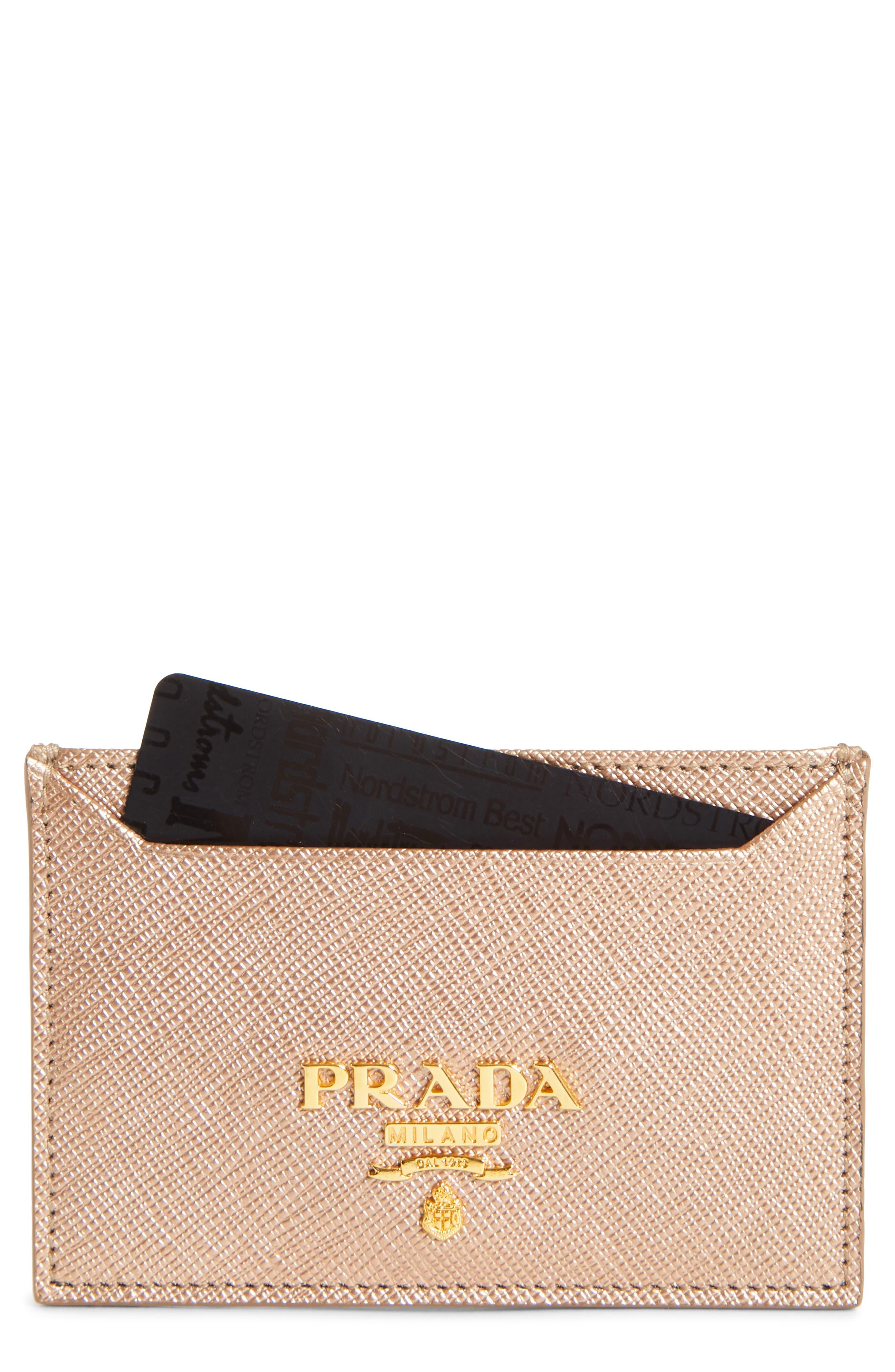 Saffiano Metal Oro Calfskin Leather Card Case,                         Main,                         color, Quarzo Mordore