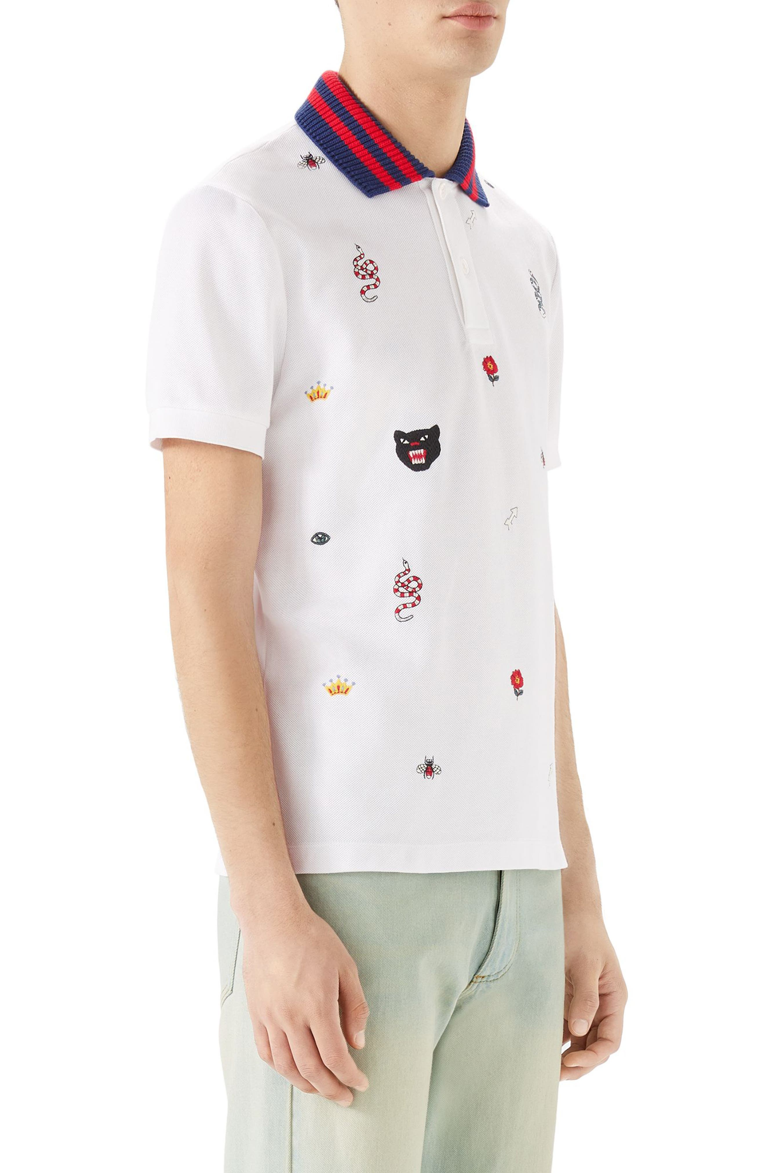 Embroidered Piqué Polo,                             Alternate thumbnail 3, color,                             White