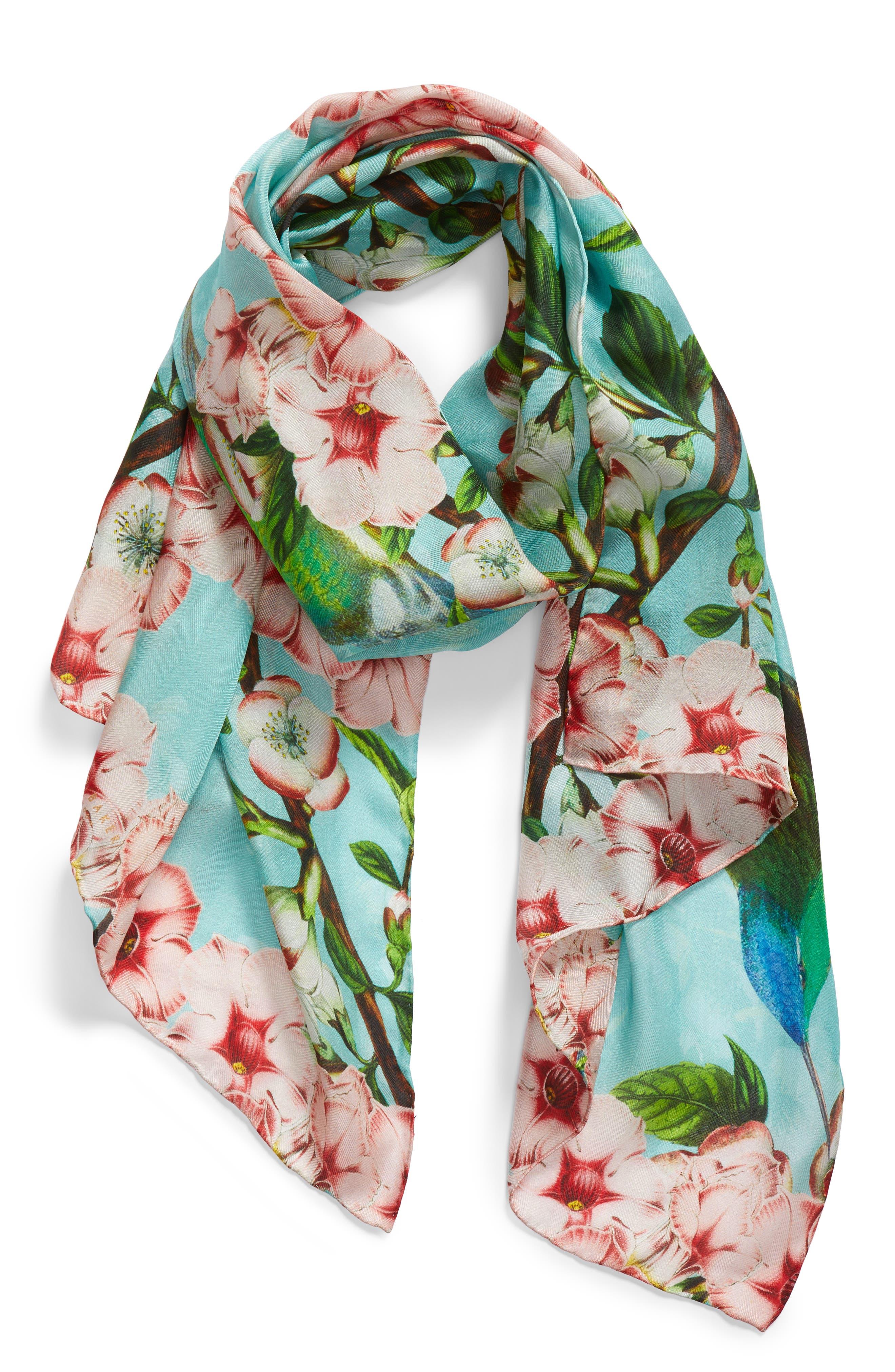 Nectar Long Silk Scarf,                             Alternate thumbnail 2, color,                             Pale Green