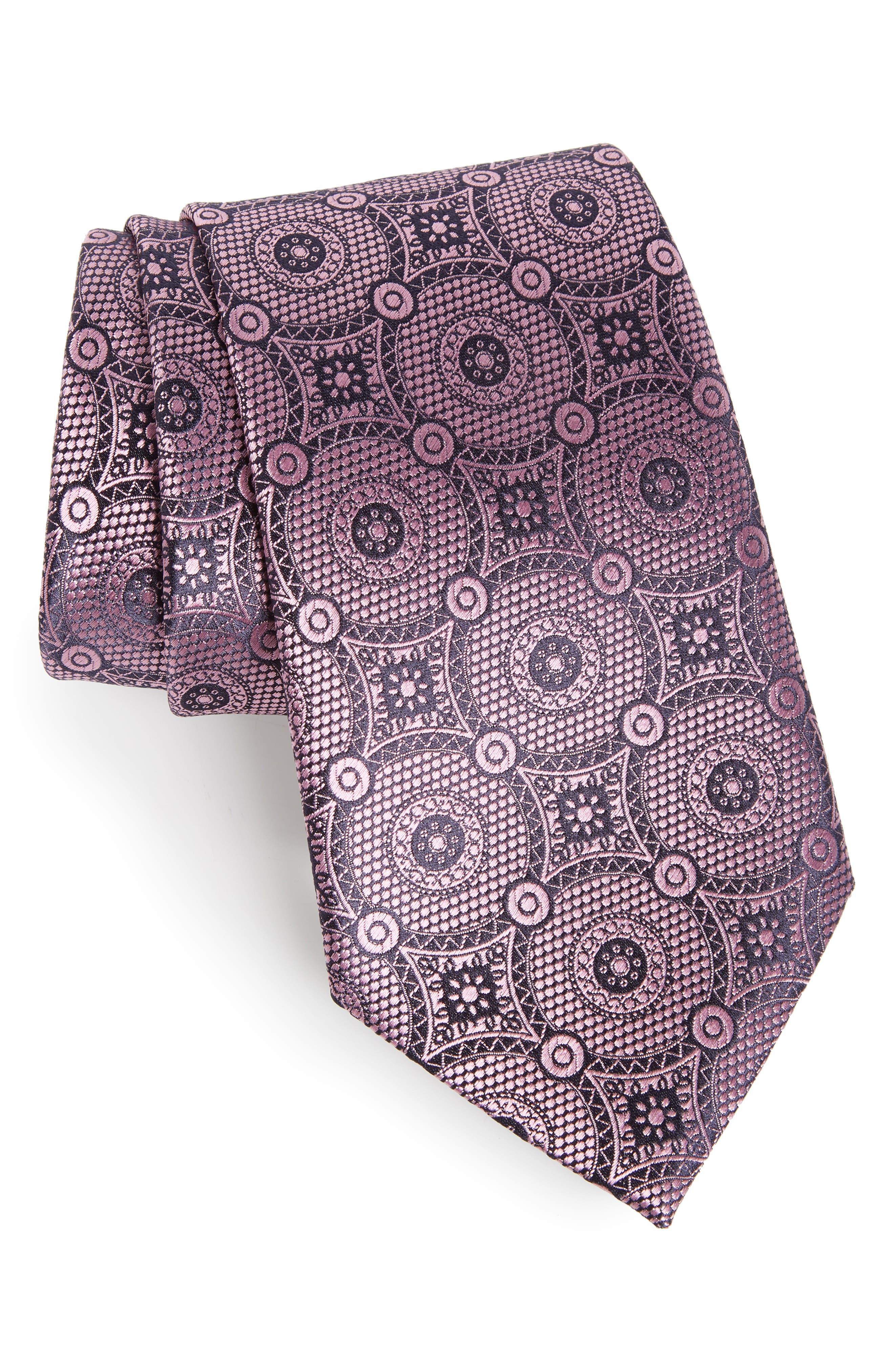 Medallion Silk Tie,                             Main thumbnail 1, color,                             Pink