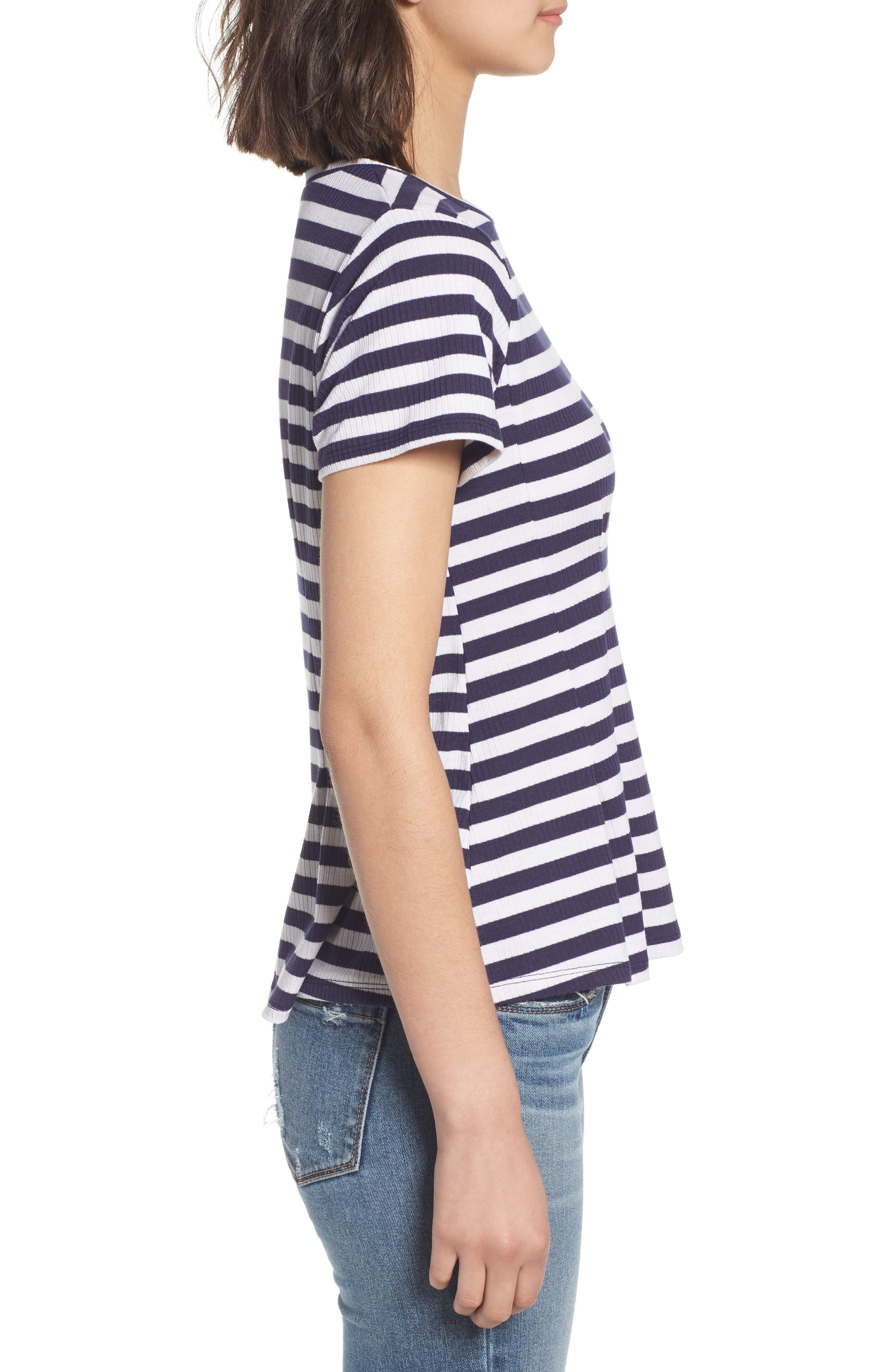 Stripe Peplum Tee,                             Alternate thumbnail 3, color,                             Navy/ White Stripe