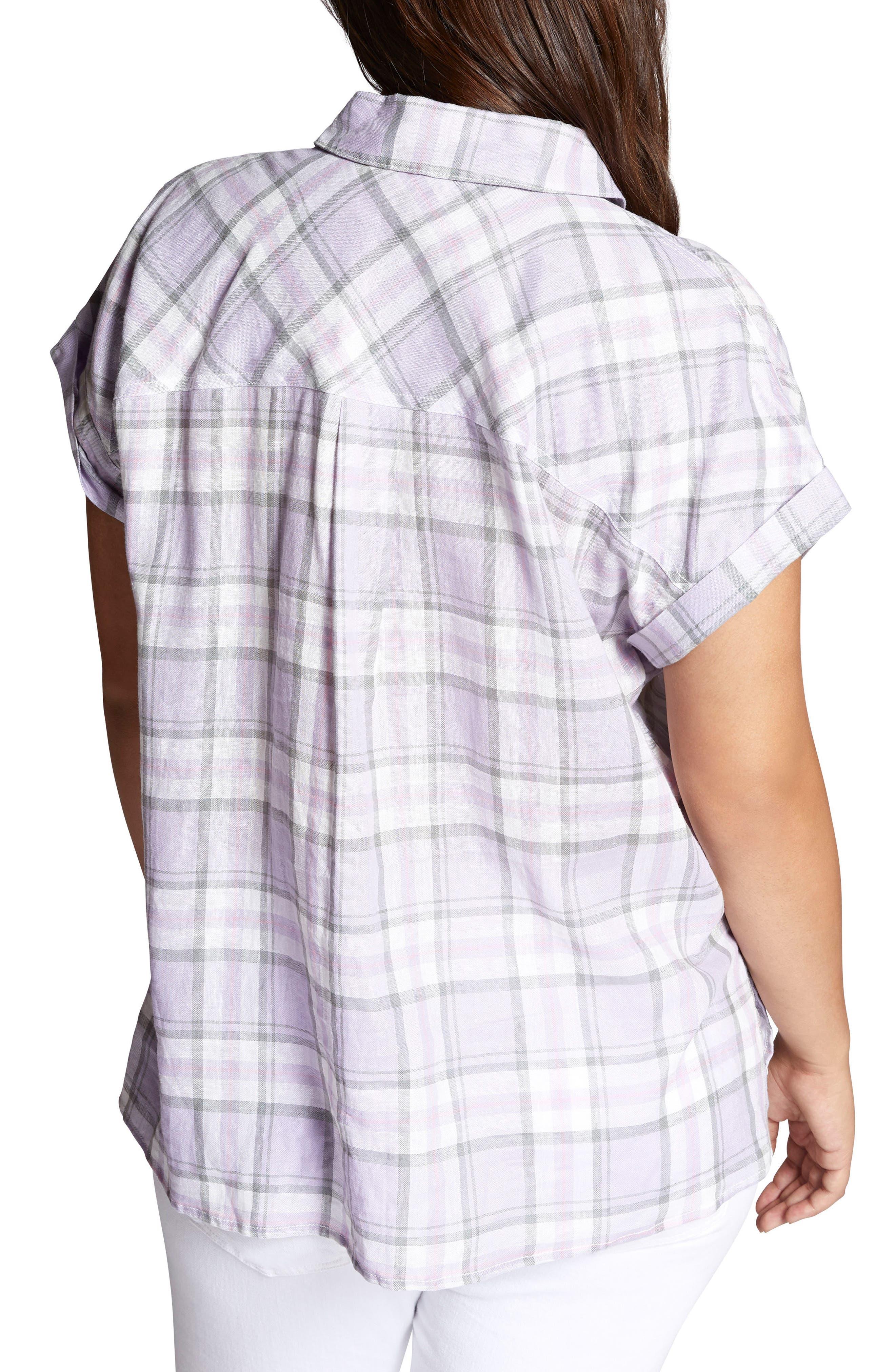 Mod Short Sleeve Boyfriend Shirt,                             Alternate thumbnail 2, color,                             Orchid Oasis Plaid