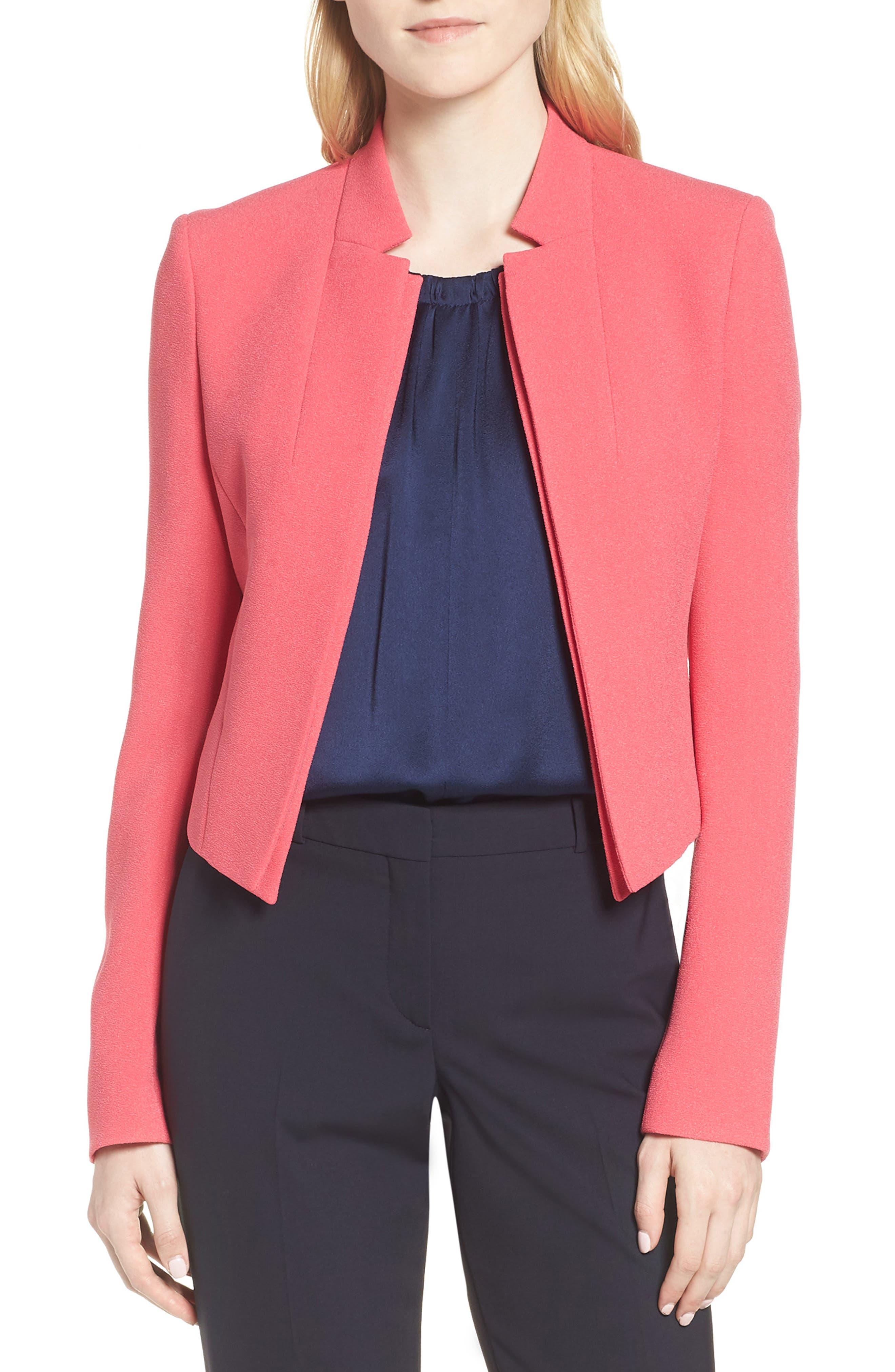 Jisala Compact Crepe Crop Jacket,                             Main thumbnail 1, color,                             Lychee Pink