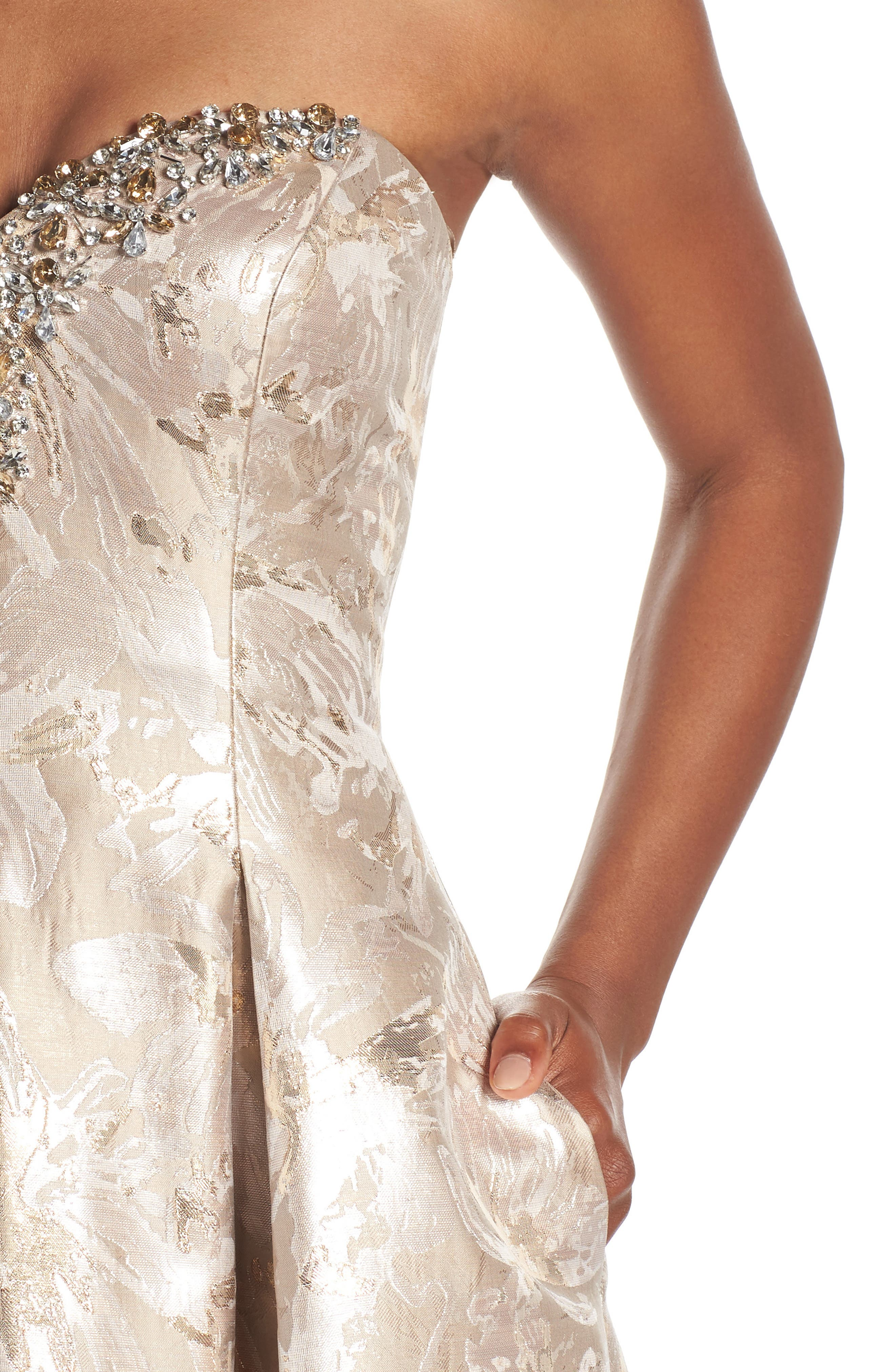 Bejeweled Neckline Strapless Ballgown,                             Alternate thumbnail 4, color,                             Champagne