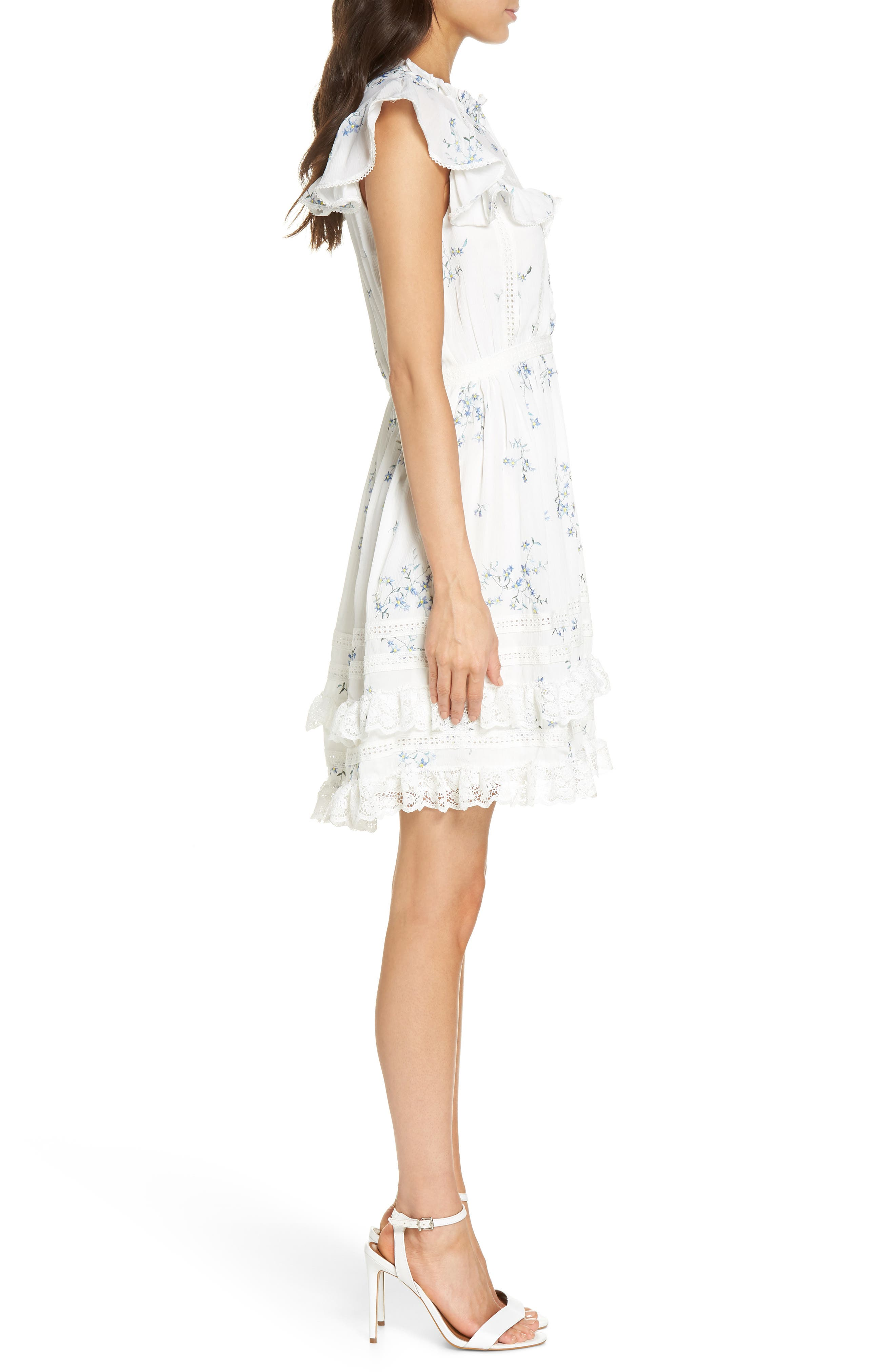 Embroidery & Lace Dress,                             Alternate thumbnail 3, color,                             White