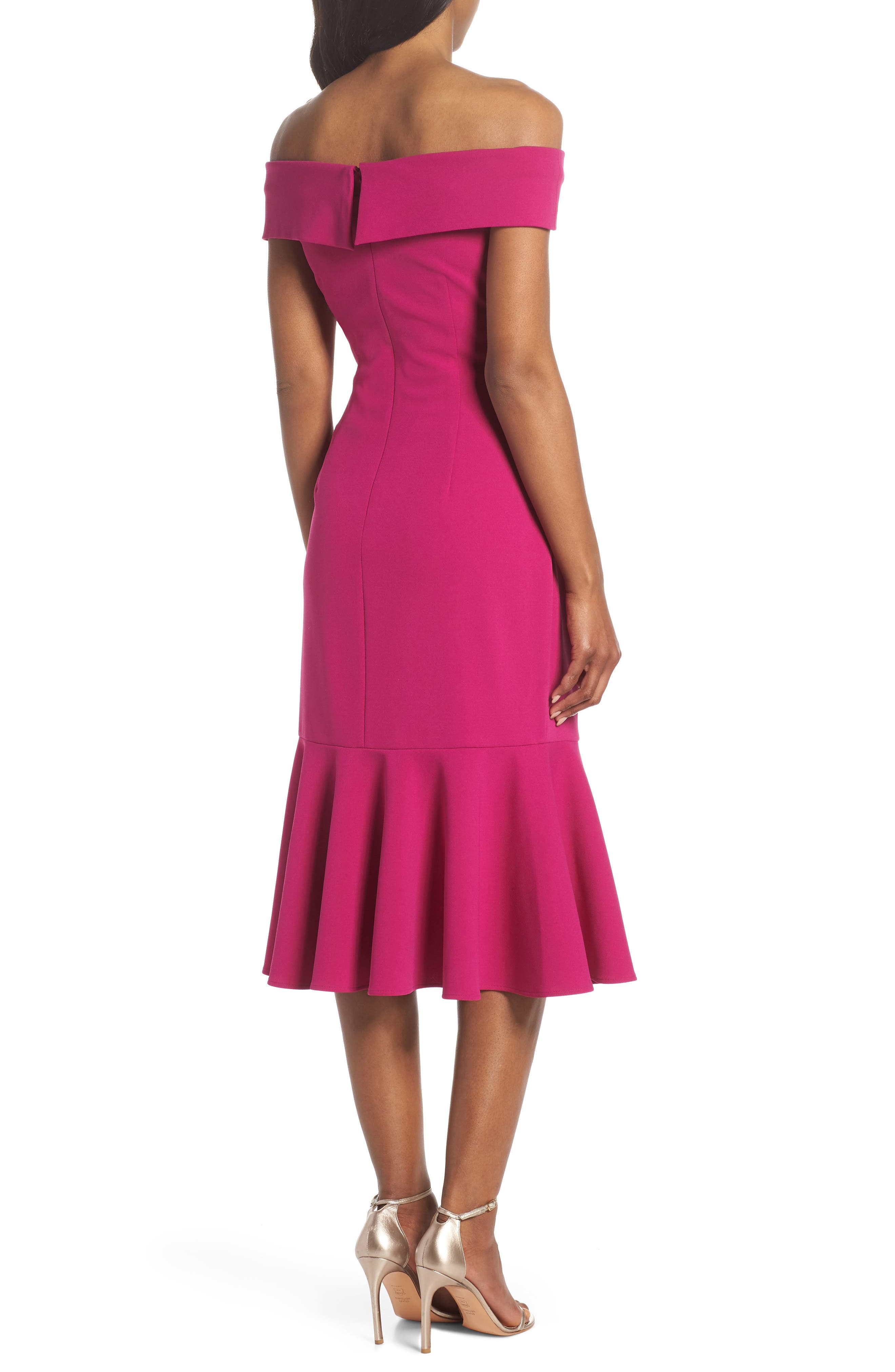 Off the Shoulder Midi Dress,                             Alternate thumbnail 2, color,                             Raspberry